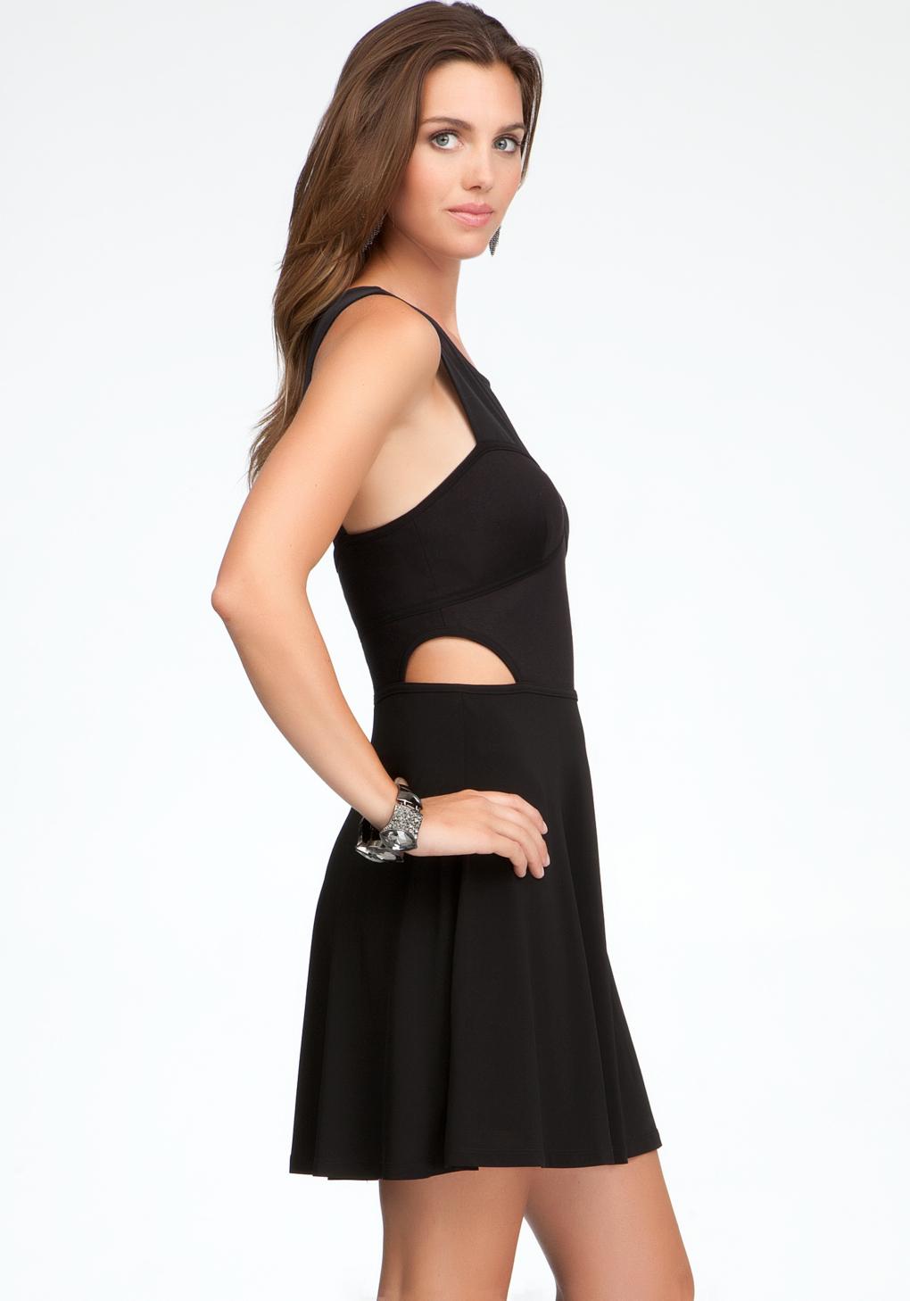 Bebe Fit Flare Side Cutout Dress In Black Lyst
