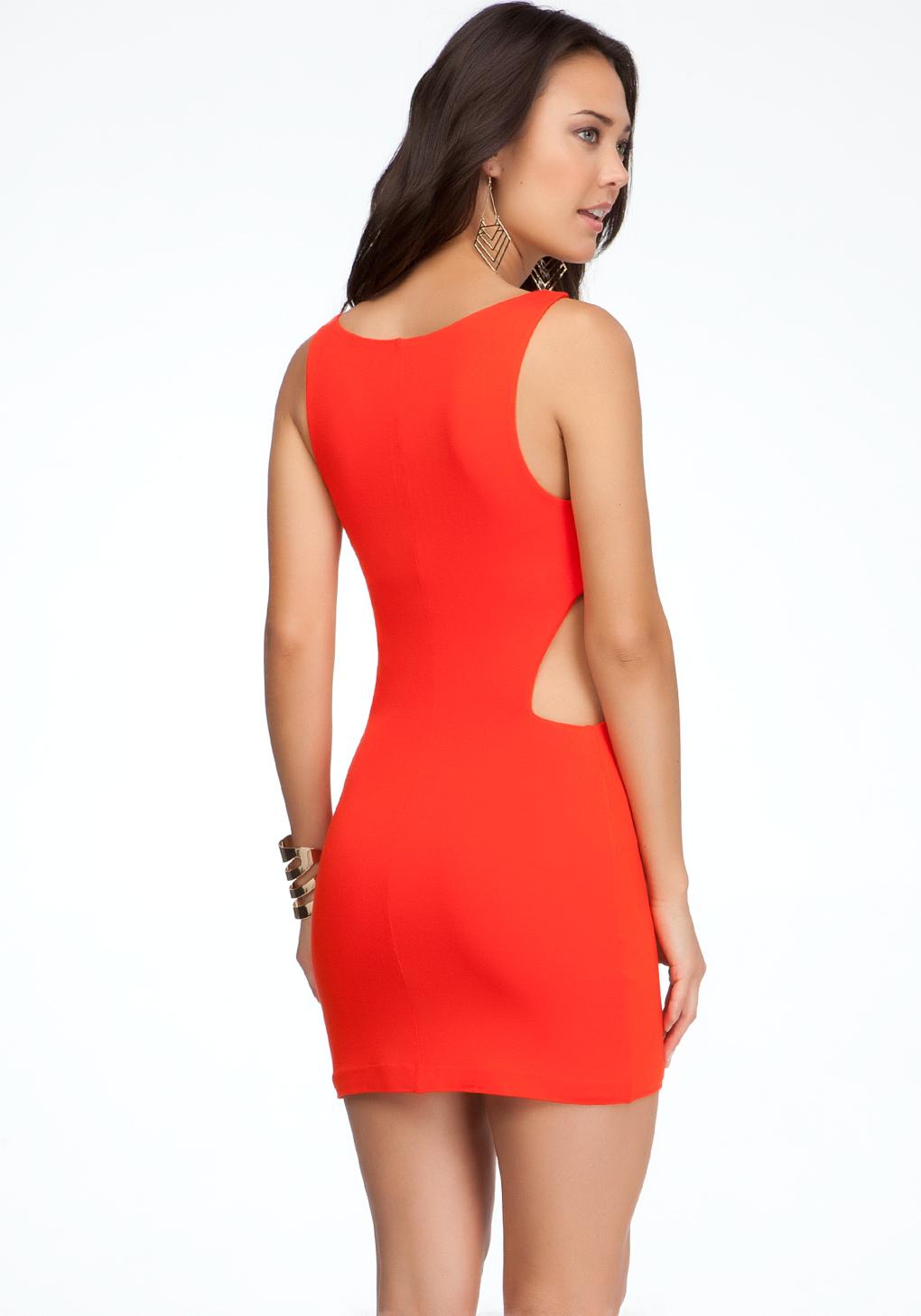 Bebe Side Cutout Mini Dress In Red Lyst