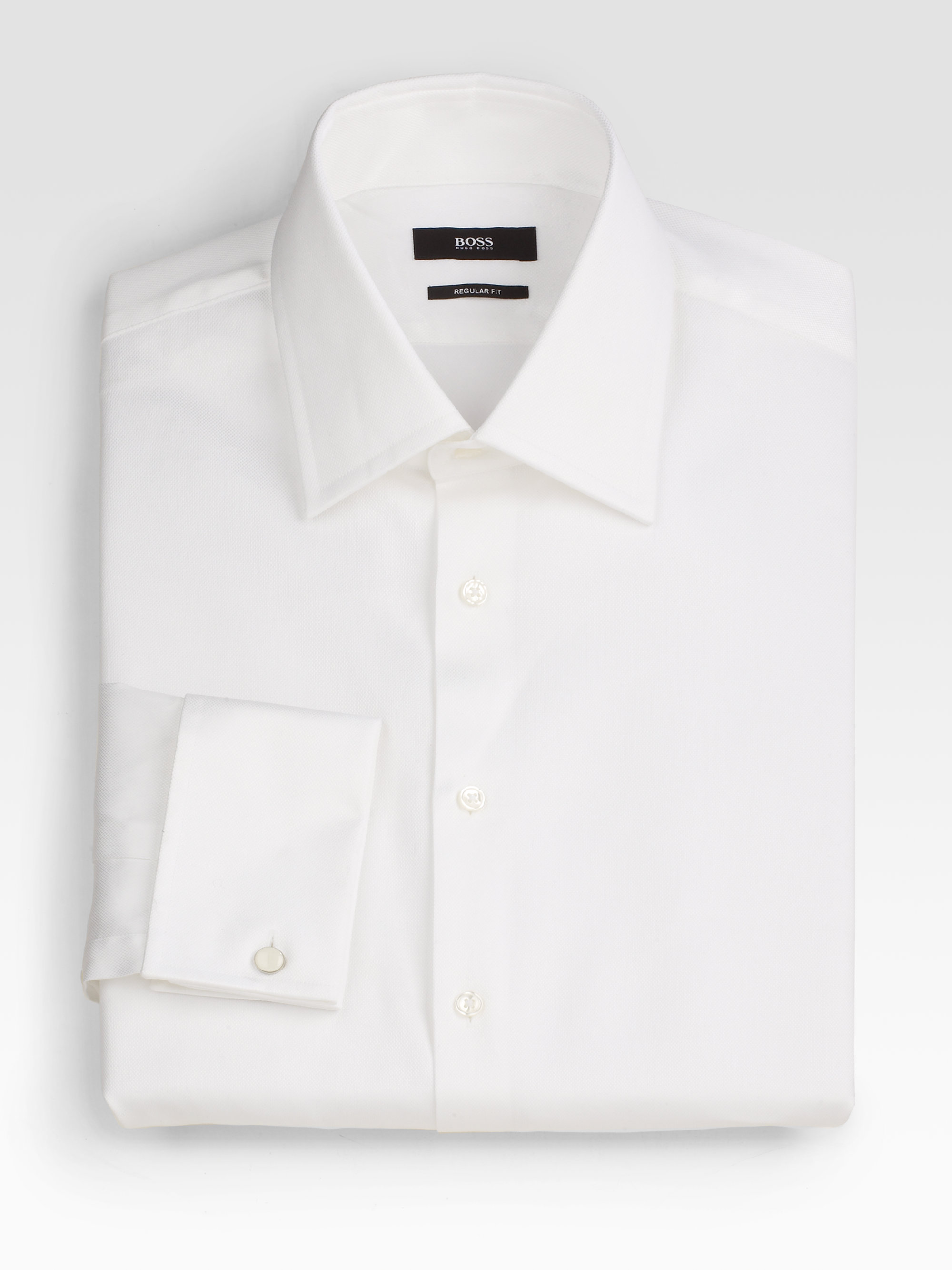 Boss Sharp Fit French Cuff Dress Shirt In White For Men Lyst