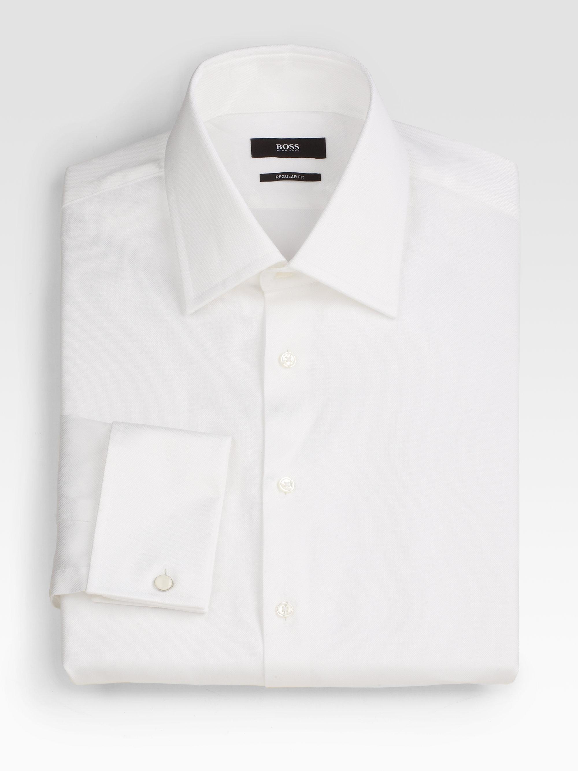boss by hugo boss sharp fit french cuff dress shirt in