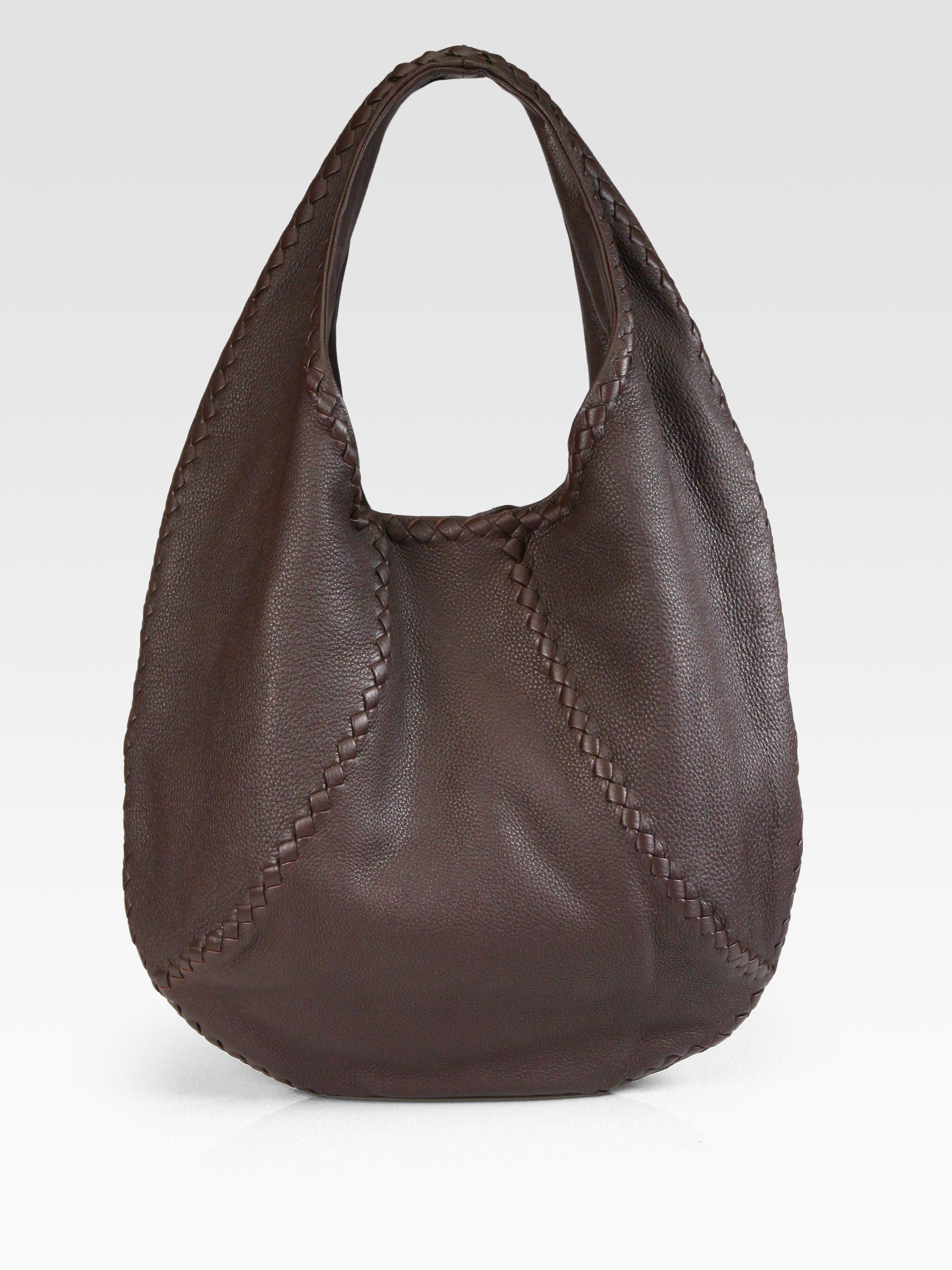 Lyst Bottega Veneta Cervo Large Leather Hobo Bag In Brown