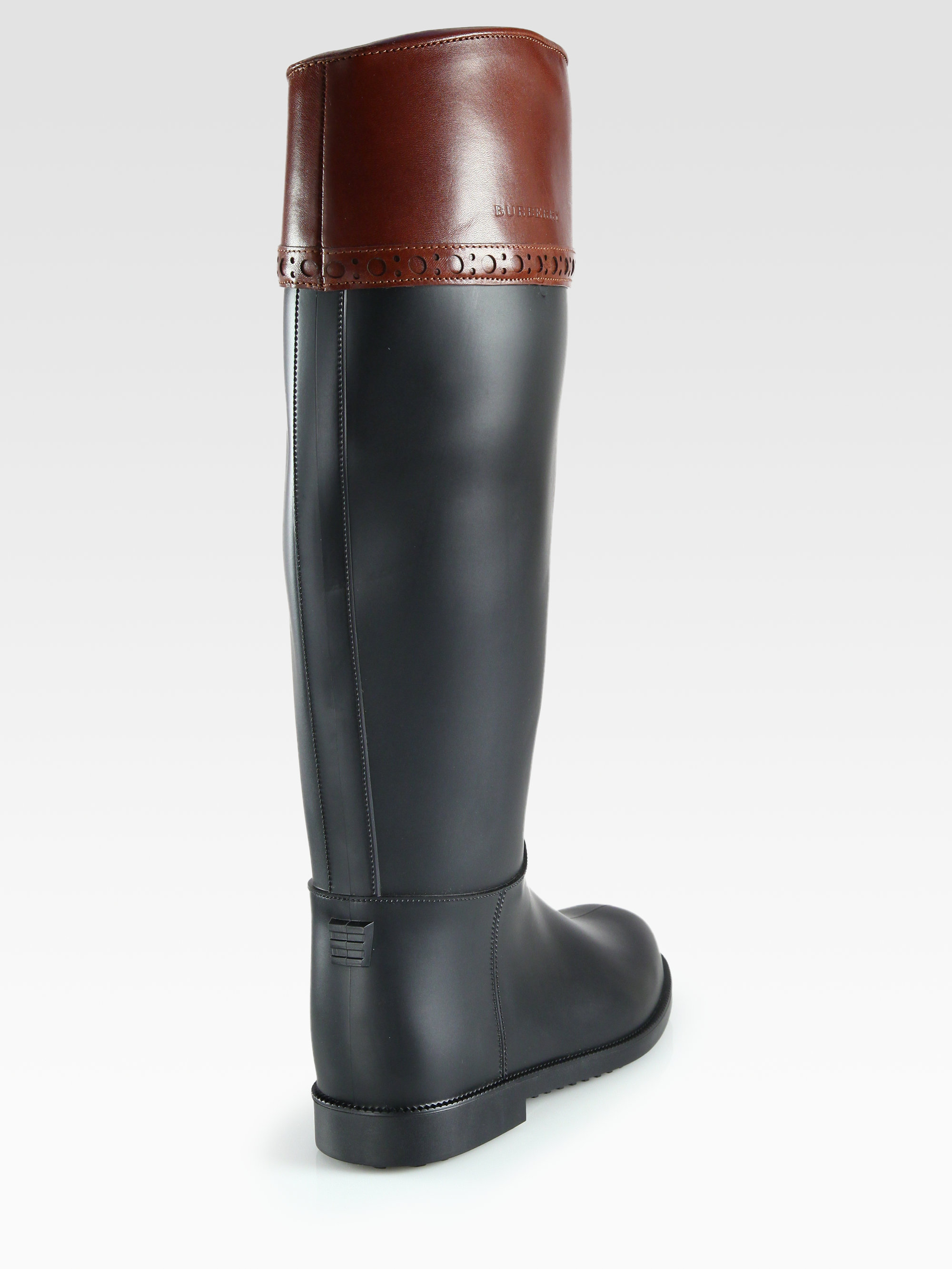 Burberry Hillmore Leathertrimmed Rain Boots in Black | Lyst