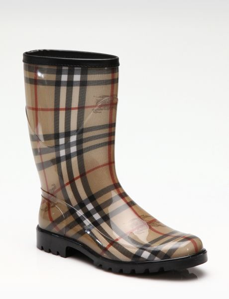 Burberry Rubber Rain Boots In Red Black Lyst