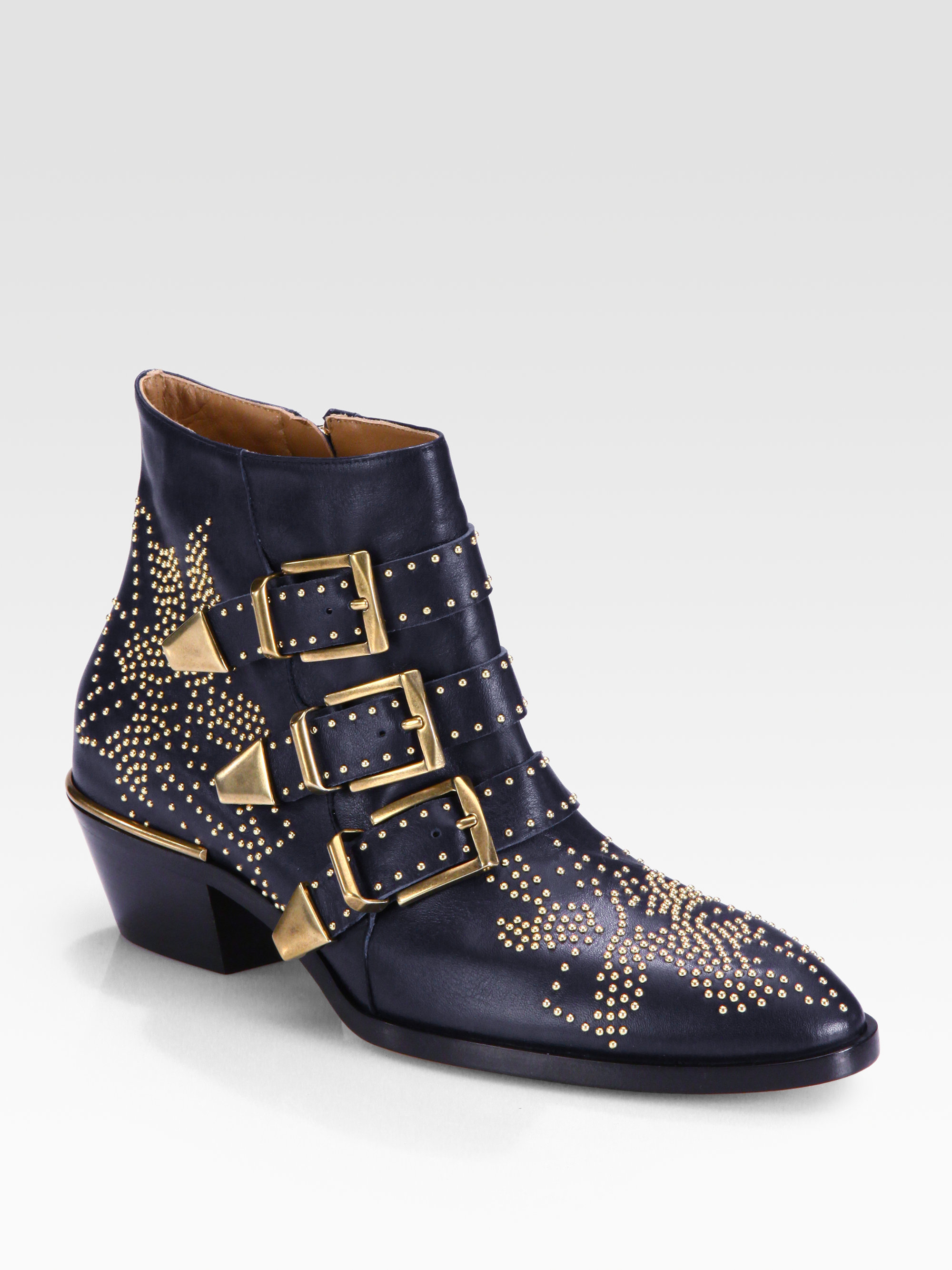 chlo studded leather buckle ankle boots in blue lyst. Black Bedroom Furniture Sets. Home Design Ideas