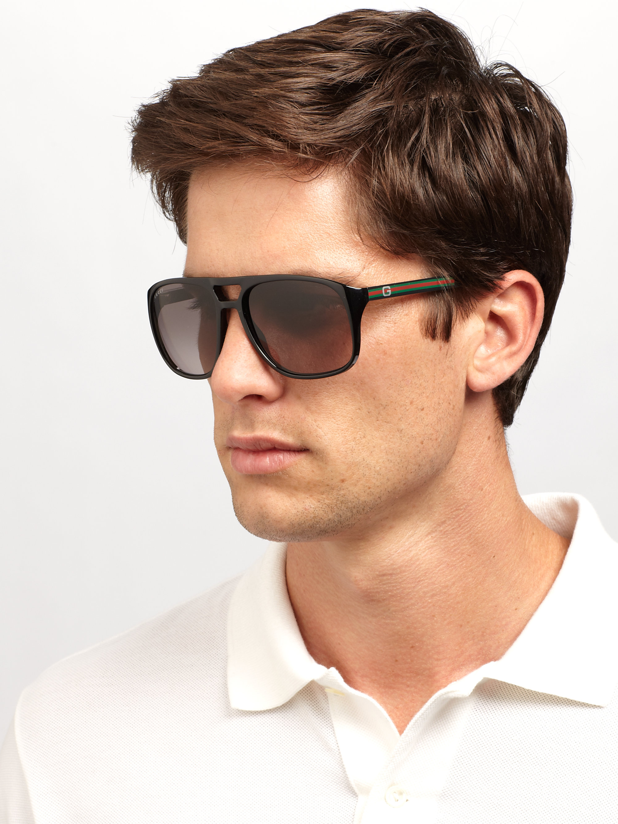 5a8e749af39 Lyst - Gucci Acetate Aviator Sunglasses in Black for Men