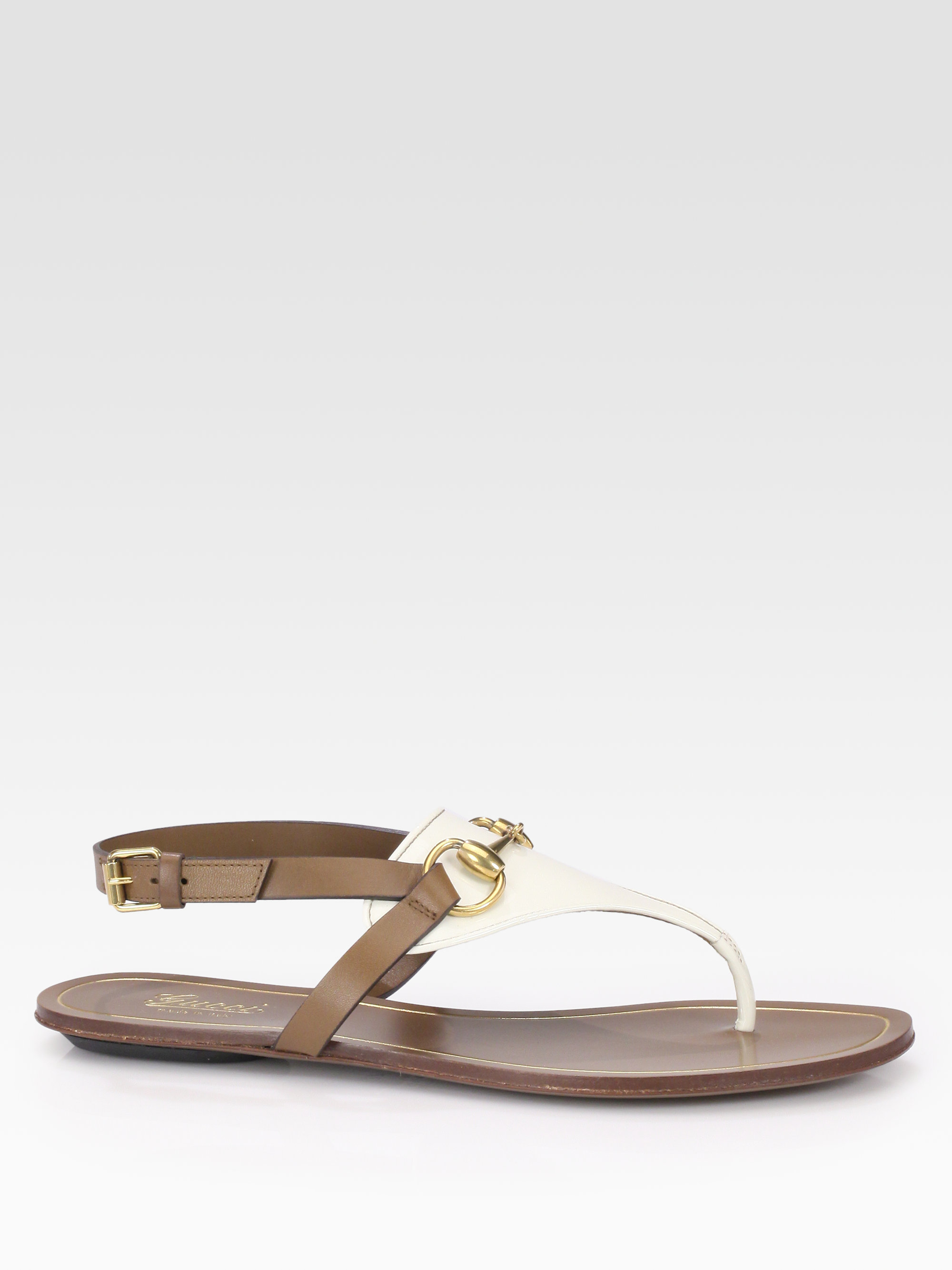 e3034c6858fcb3 Lyst - Gucci Bicolor Patent Leather Leather Horsebit Sandals in Brown