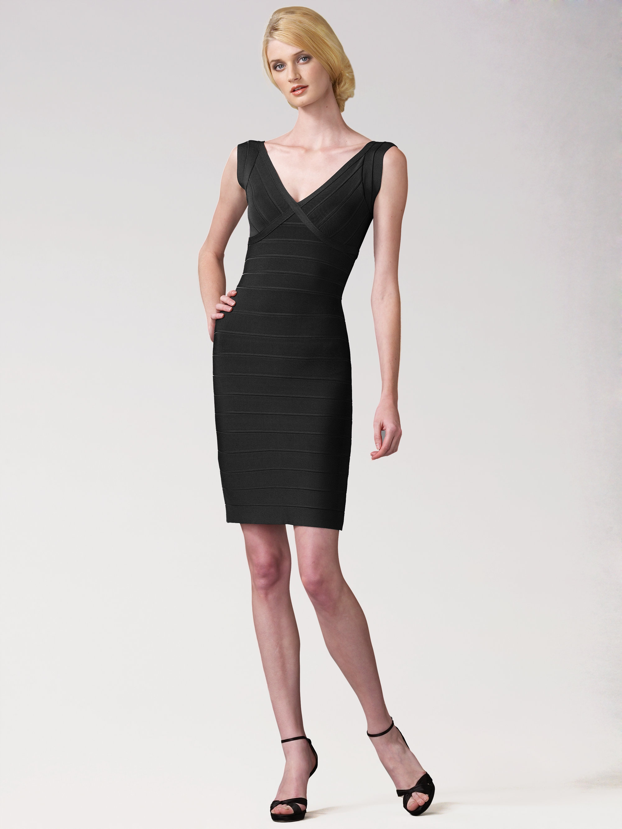 Hervé léger V-neck Bandage Dress in Black