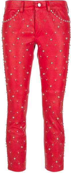 Isabel Marant Cropped Studded Trousers - Lyst