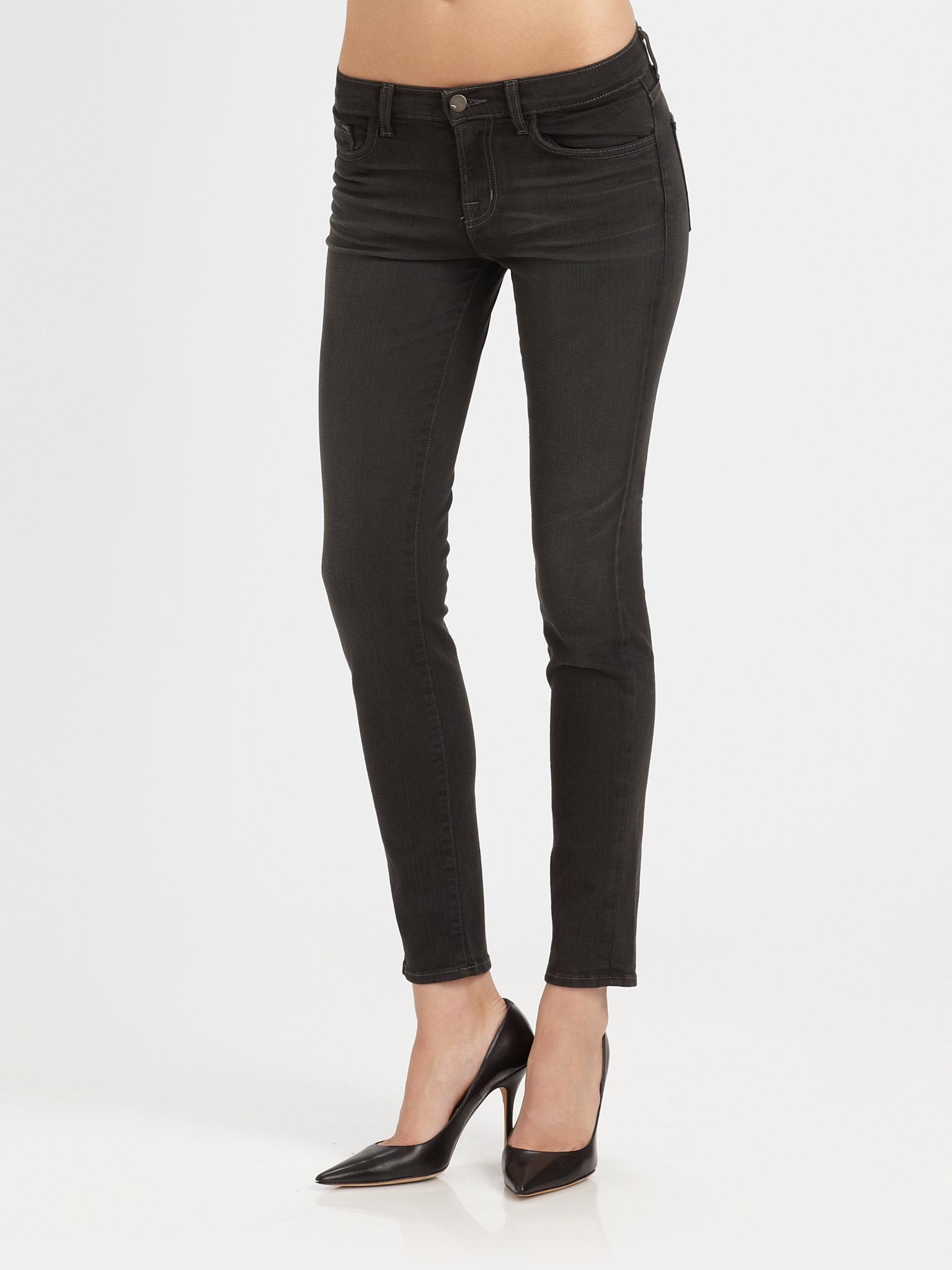j brand 811 midrise skinny jeans in black dare lyst. Black Bedroom Furniture Sets. Home Design Ideas