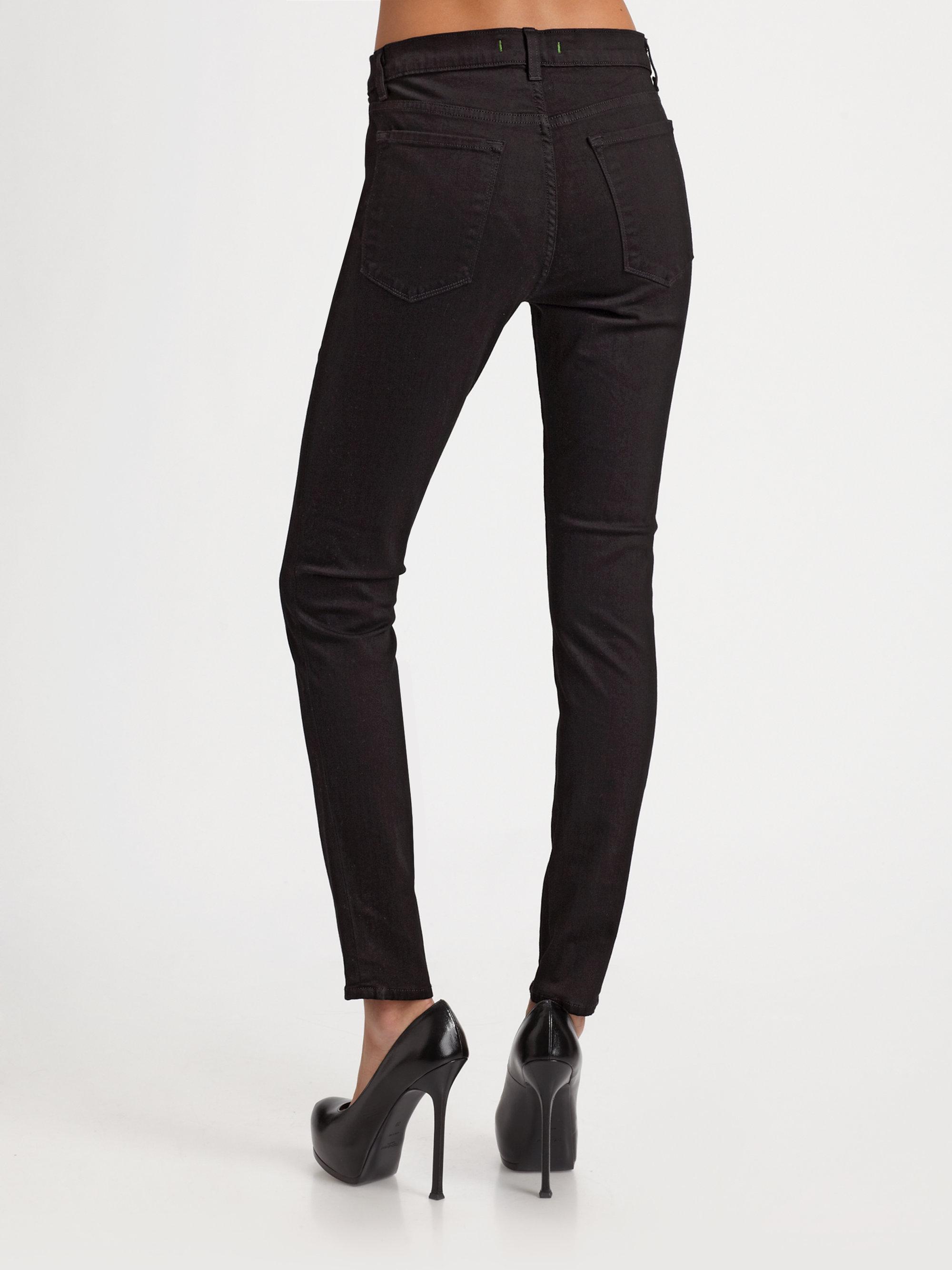 j brand maria highrise skinny jeans in black lyst. Black Bedroom Furniture Sets. Home Design Ideas