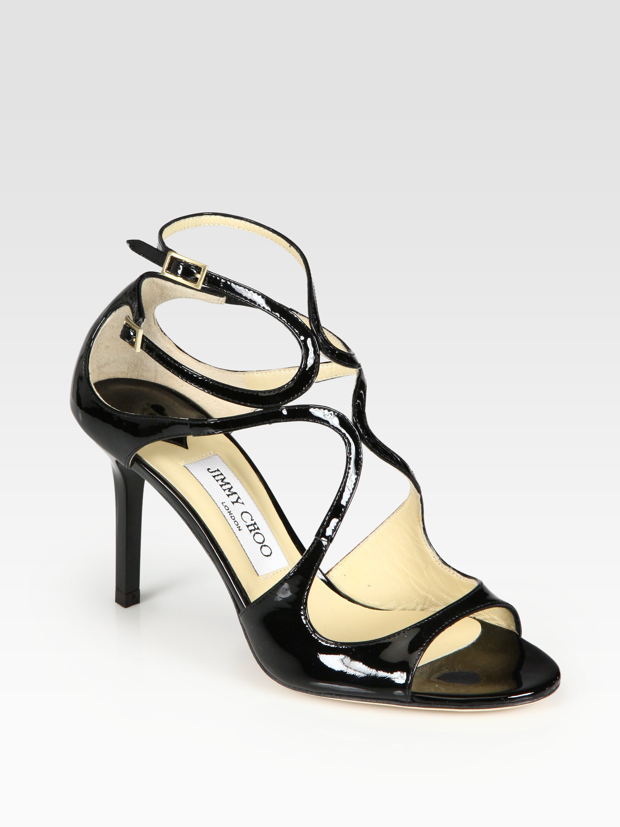 Lyst Jimmy Choo Ivette Strappy Patent Leather Sandals In