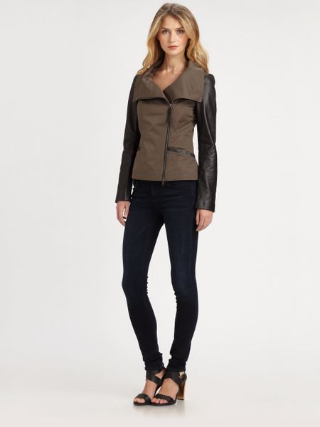 Mackage Lindsay Poplin Leather Jacket in Brown (gunmetal) | Lyst