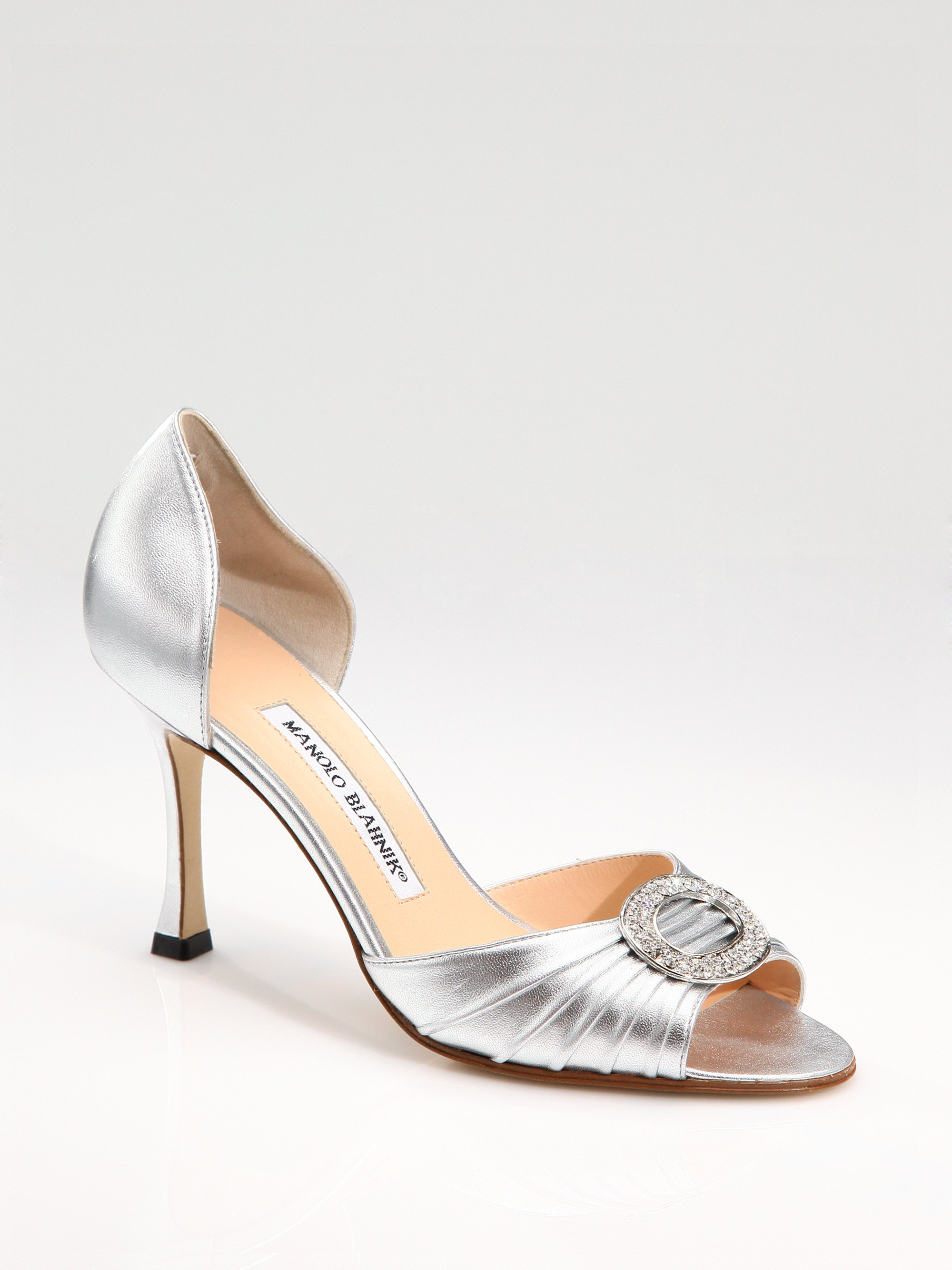 Manolo blahnik sedaraby jewel buckle dorsay pumps in for Who is manolo blahnik