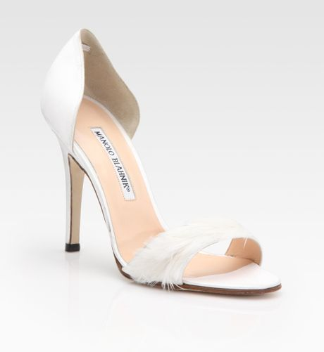 Bridal Shoes Saks: Manolo Blahnik Dorsay Satin And Feather Pumps In White