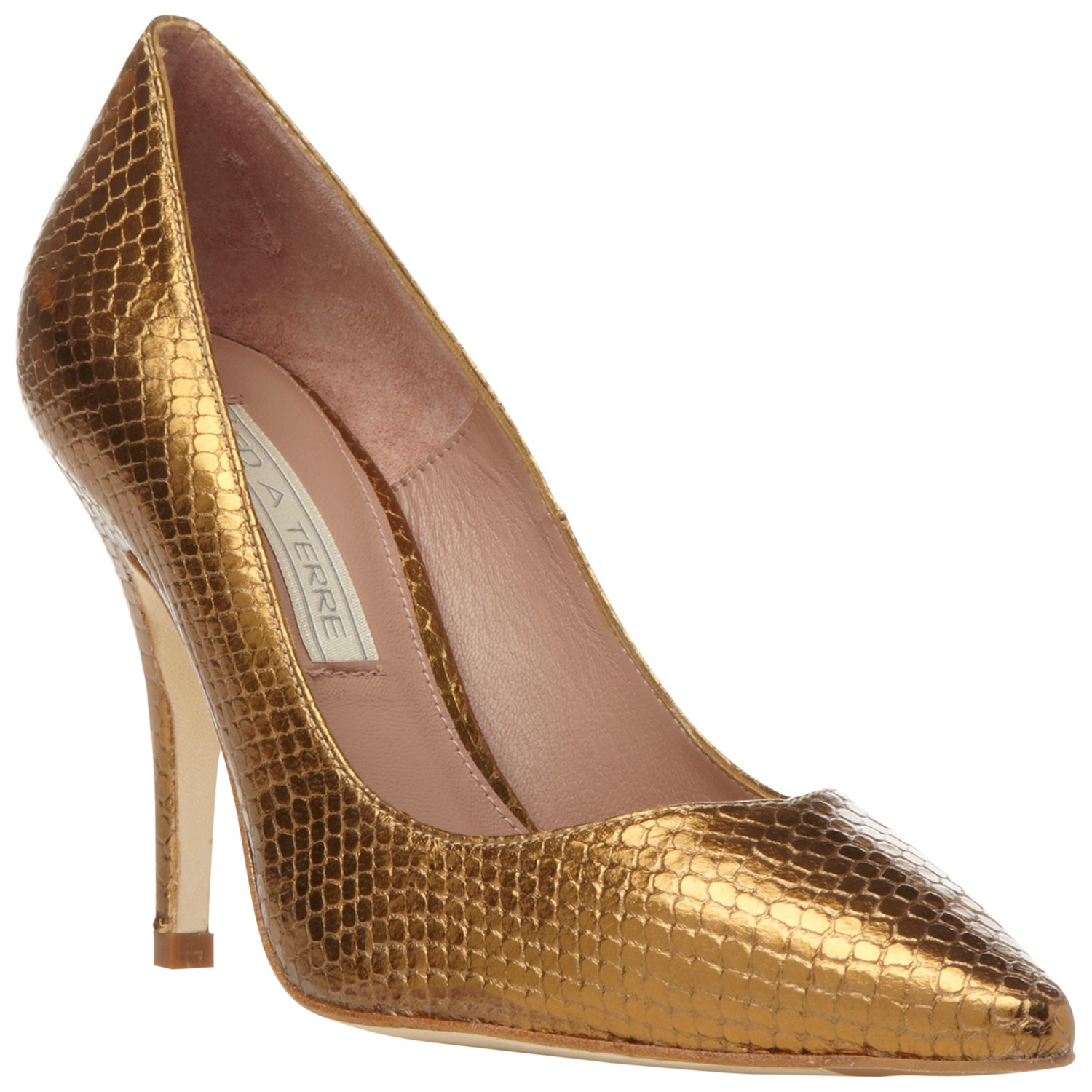 Pied A Terre Amana Leather Point Toe Court Shoe In Gold