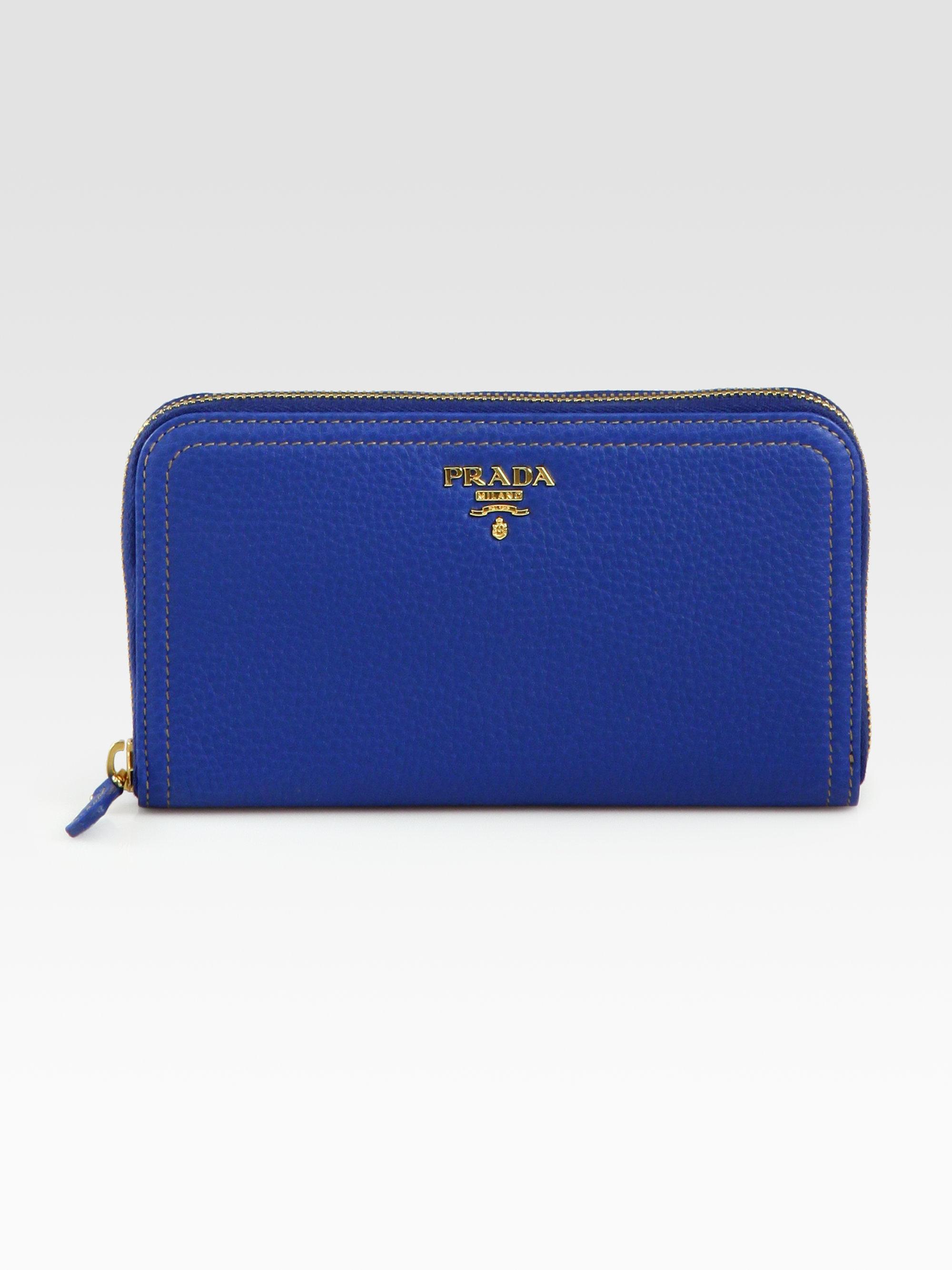 f681796d271f Prada Vitello Daino Continental Wallet in Blue - Lyst