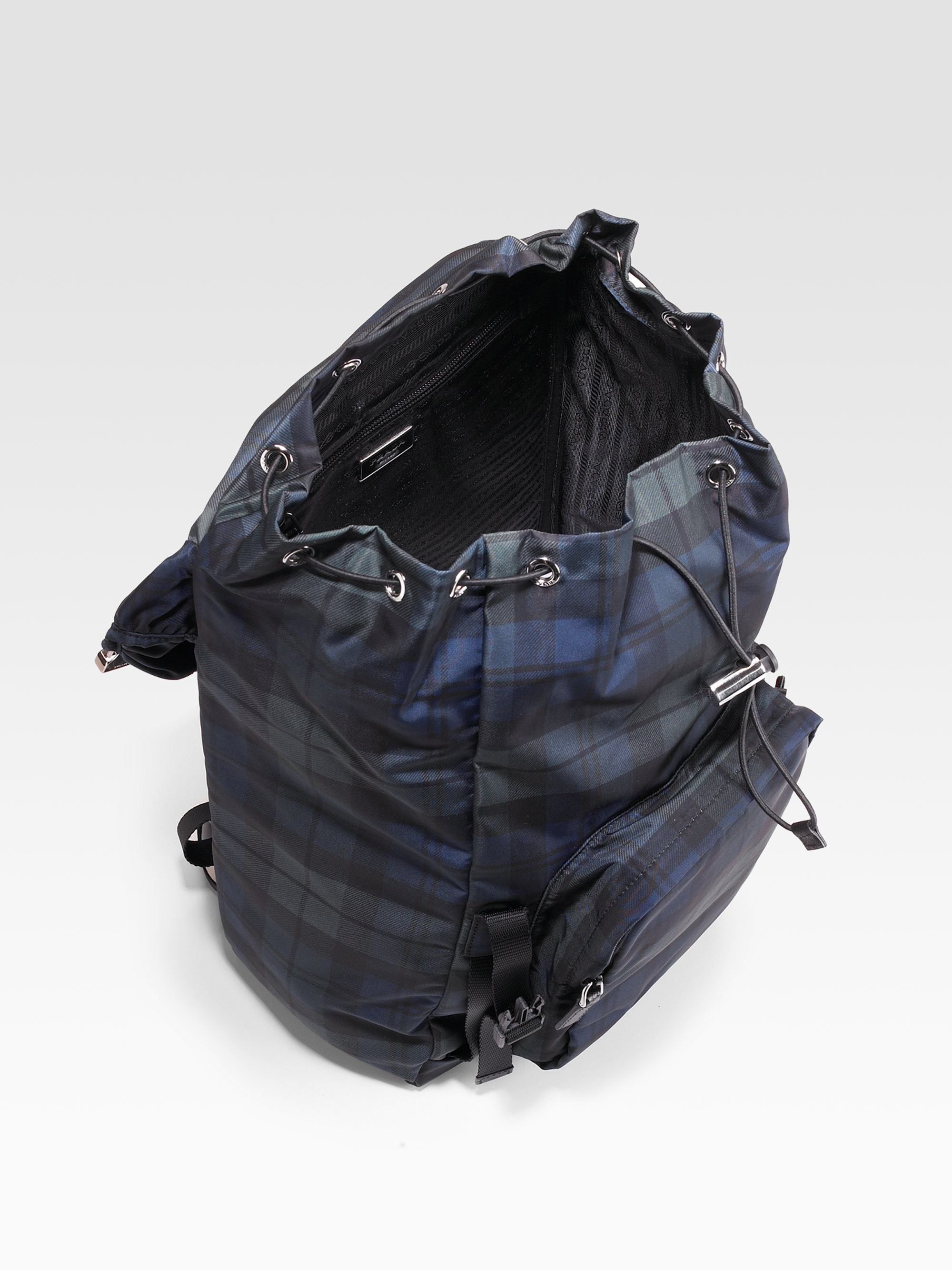 Prada Plaid Nylon Backpack in Blue for Men (black watch) | Lyst - prada backpack blue