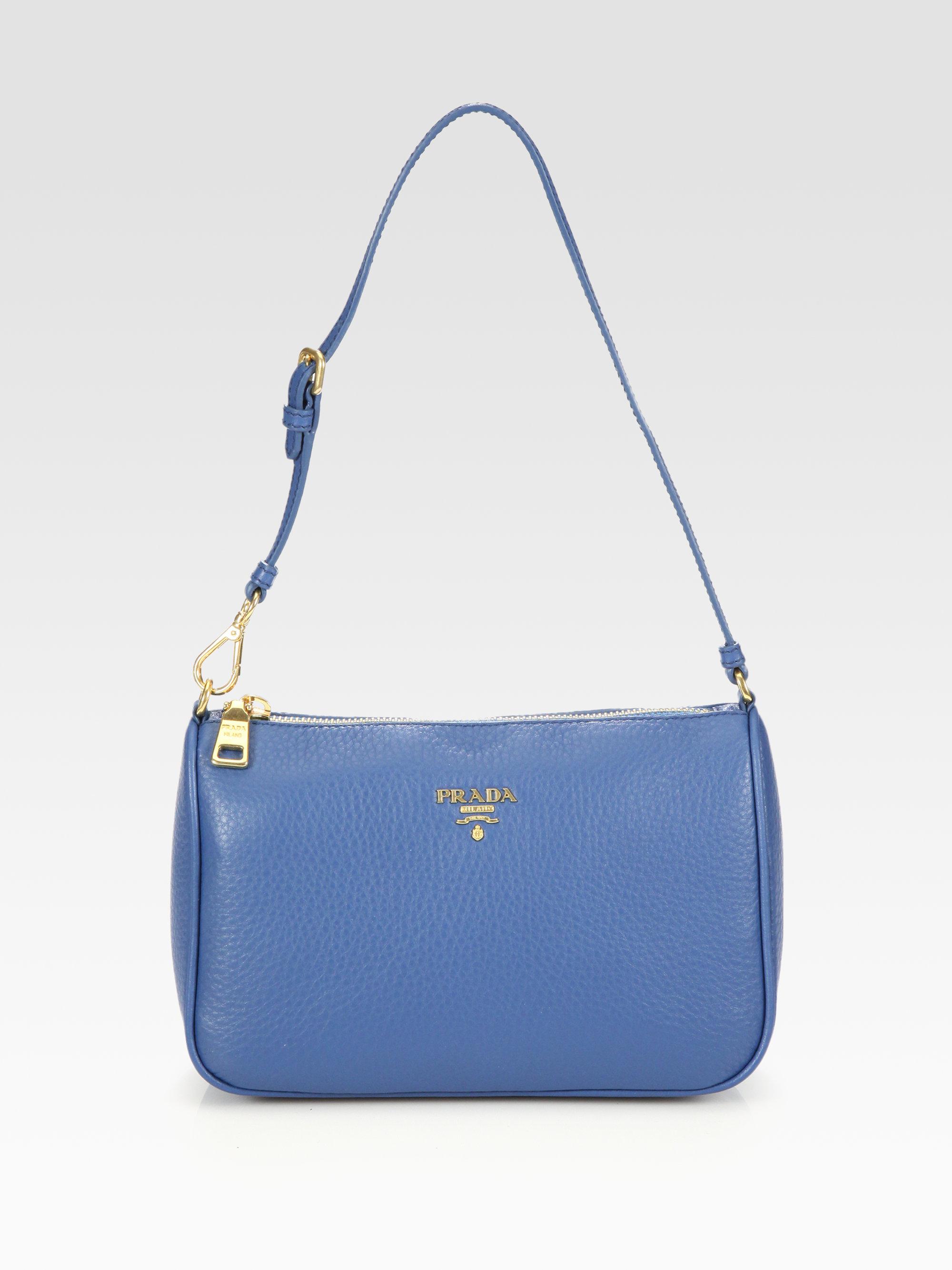 dc608fa4915553 Prada Daino Mini Hobo Bag in Blue - Lyst