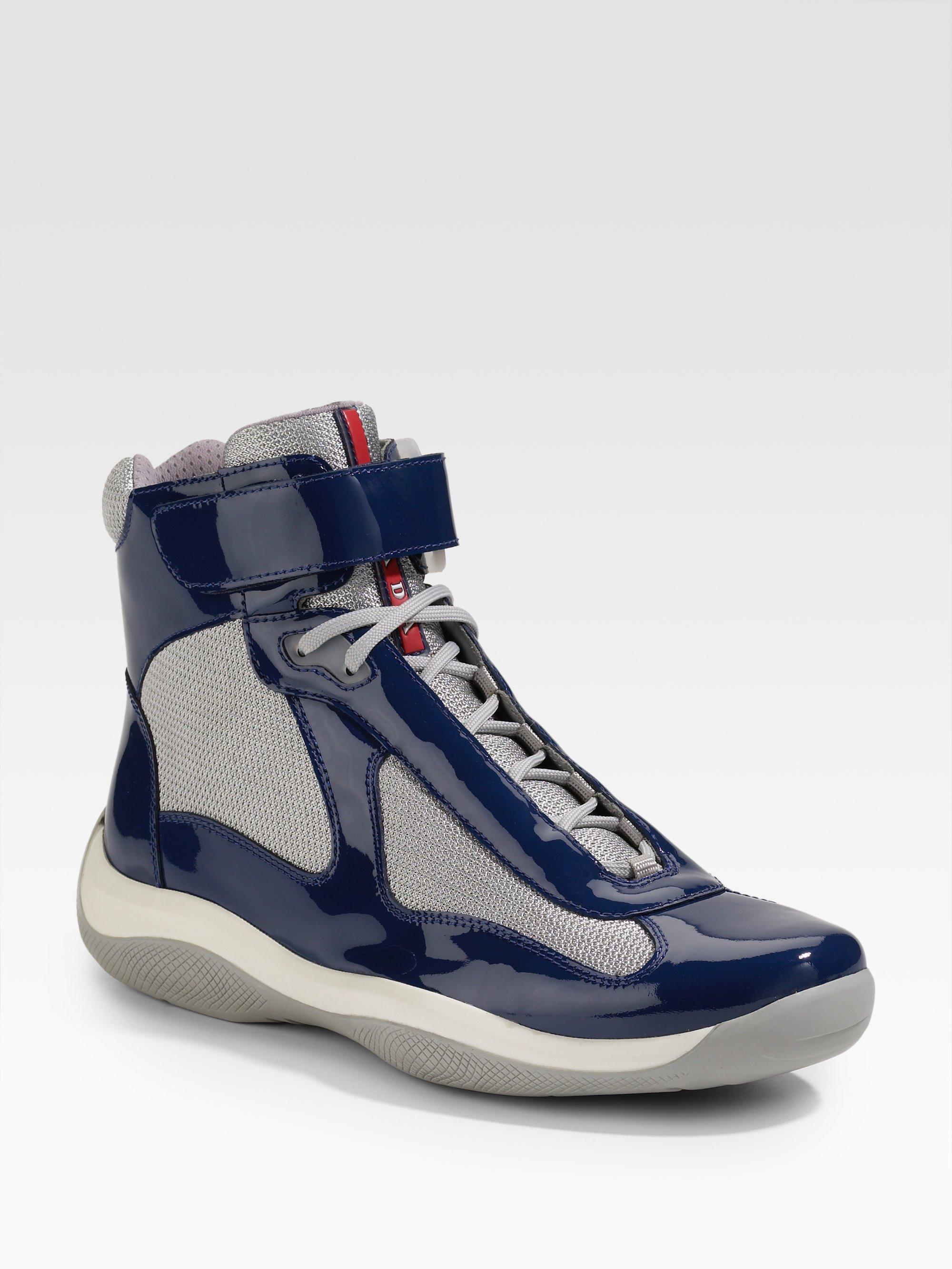 Prada Hightop Patent Sneakers in Dark Red Red Lyst