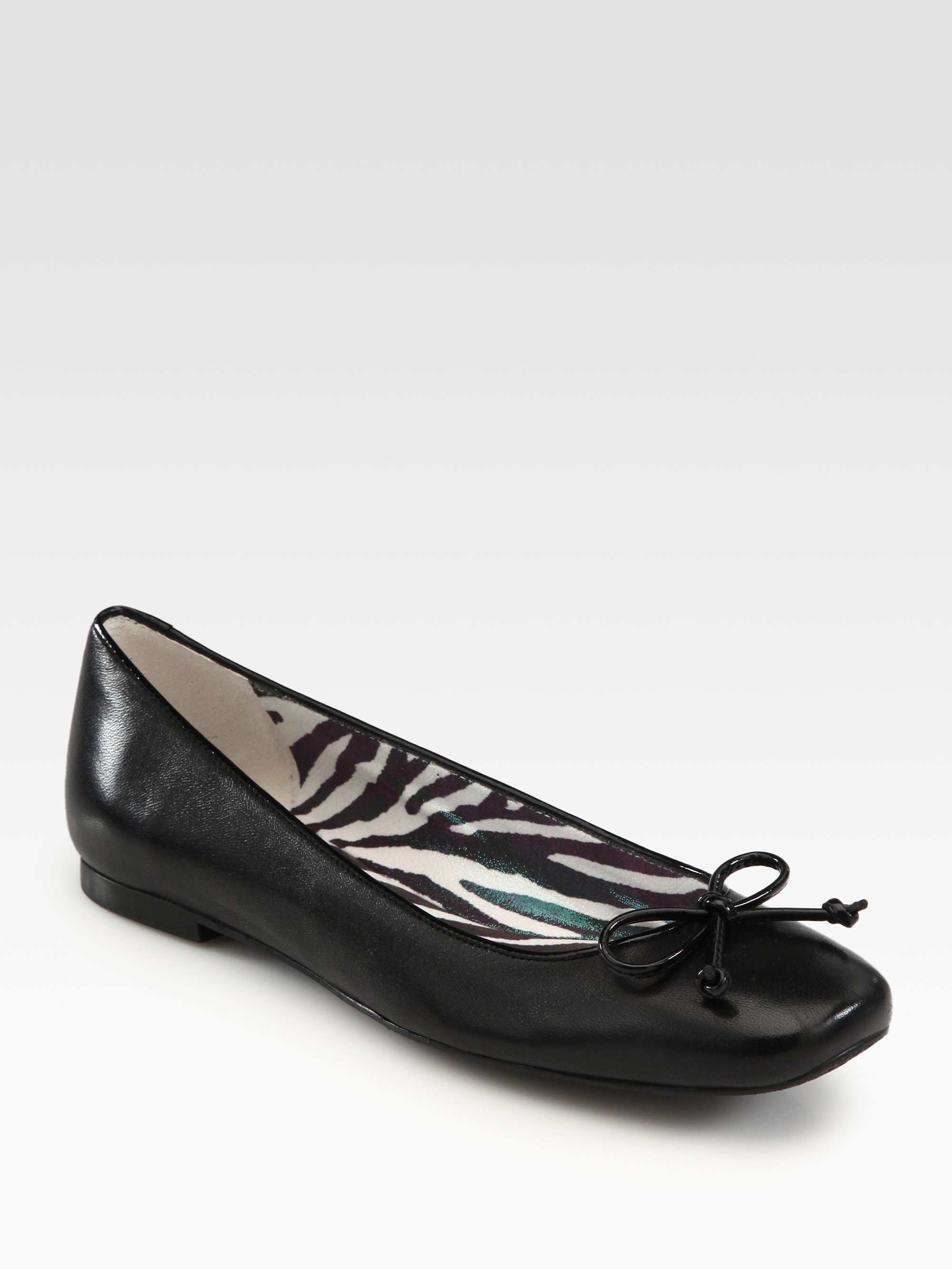 Stuart Weitzman Stringon Leather Ballet Flats In Black Lyst