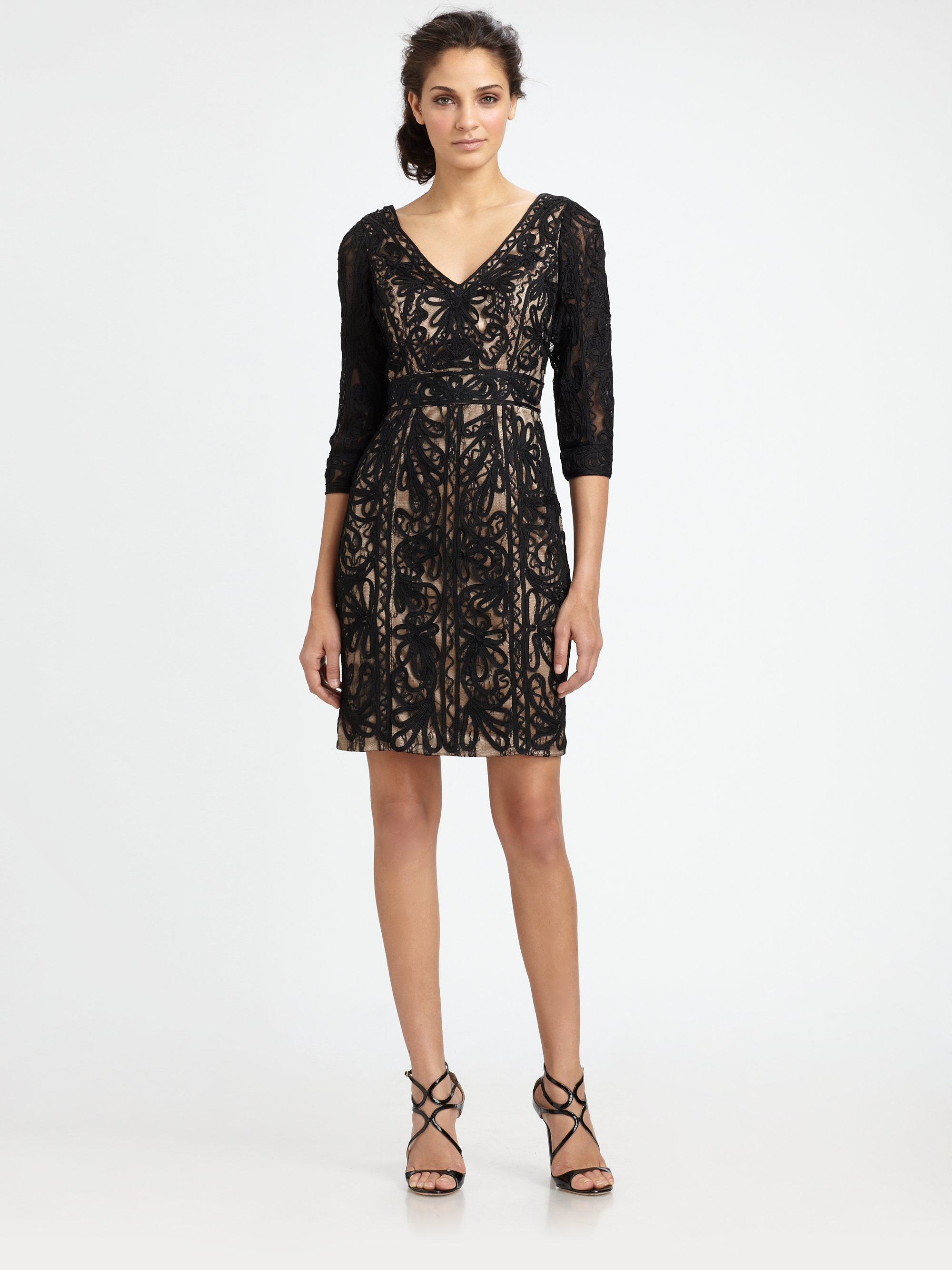 84ac28a606cd0 Lyst - Sue Wong Embroidered Lace Dress in Black