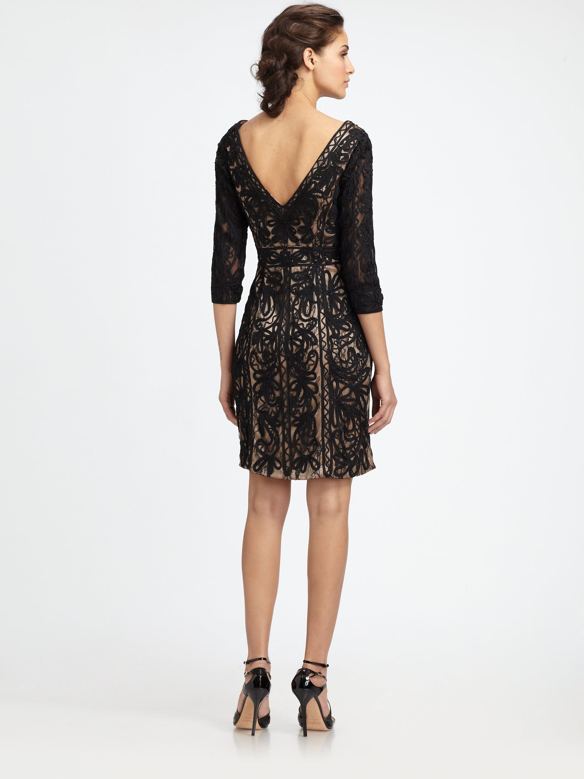 Sue Wong Embroidered Lace Dress In Black Nude Black Lyst