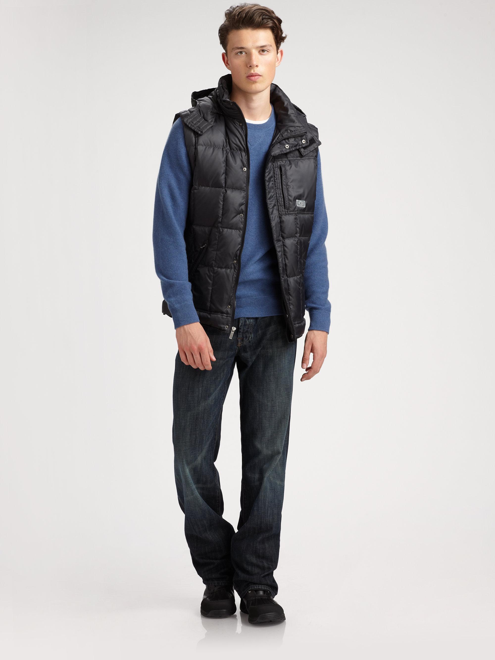 Ugg Poia Puffer Vest In Black For Men Lyst