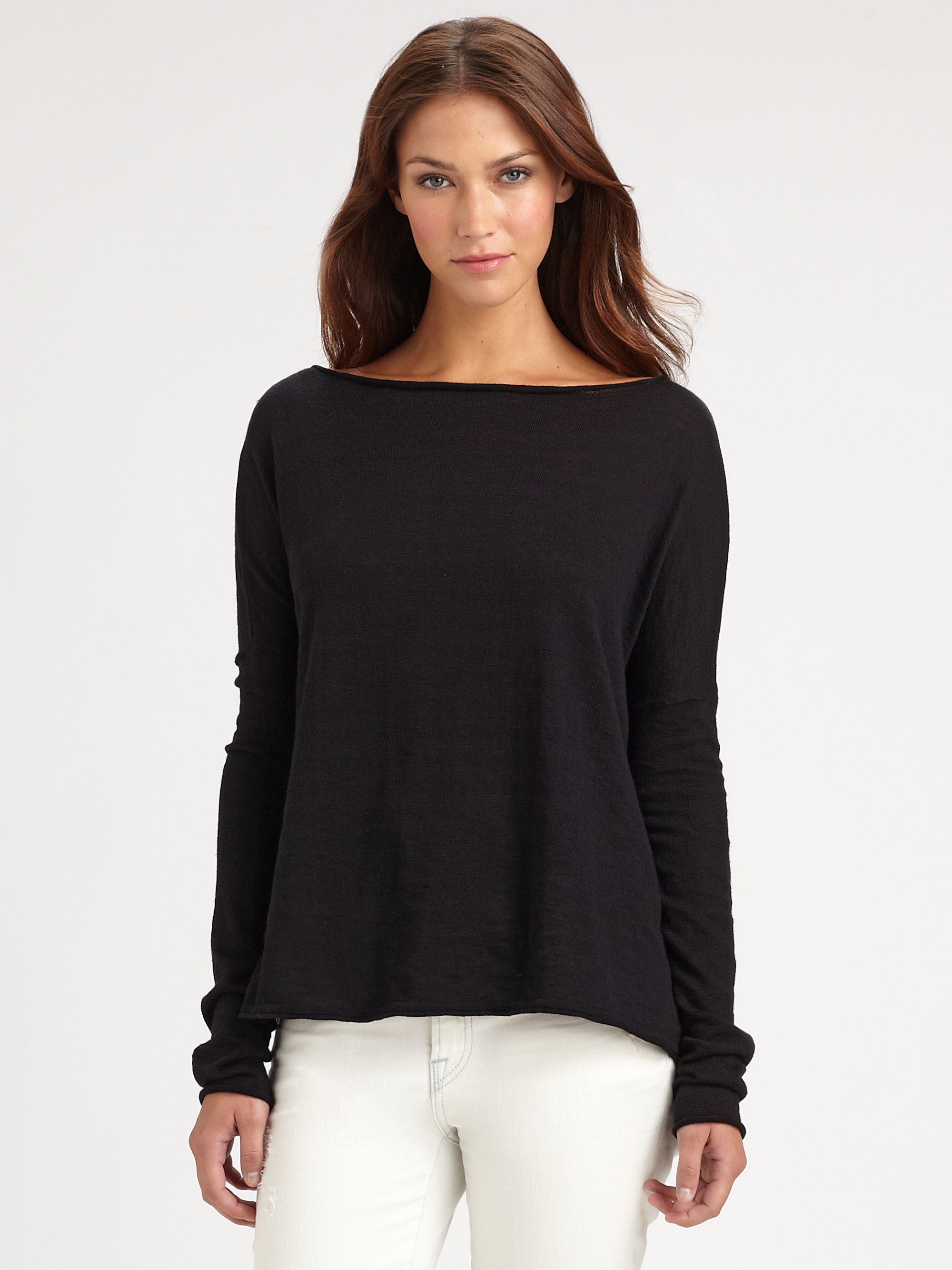 Vince Oversized Boatneck Slub Cotton Sweater in Black | Lyst