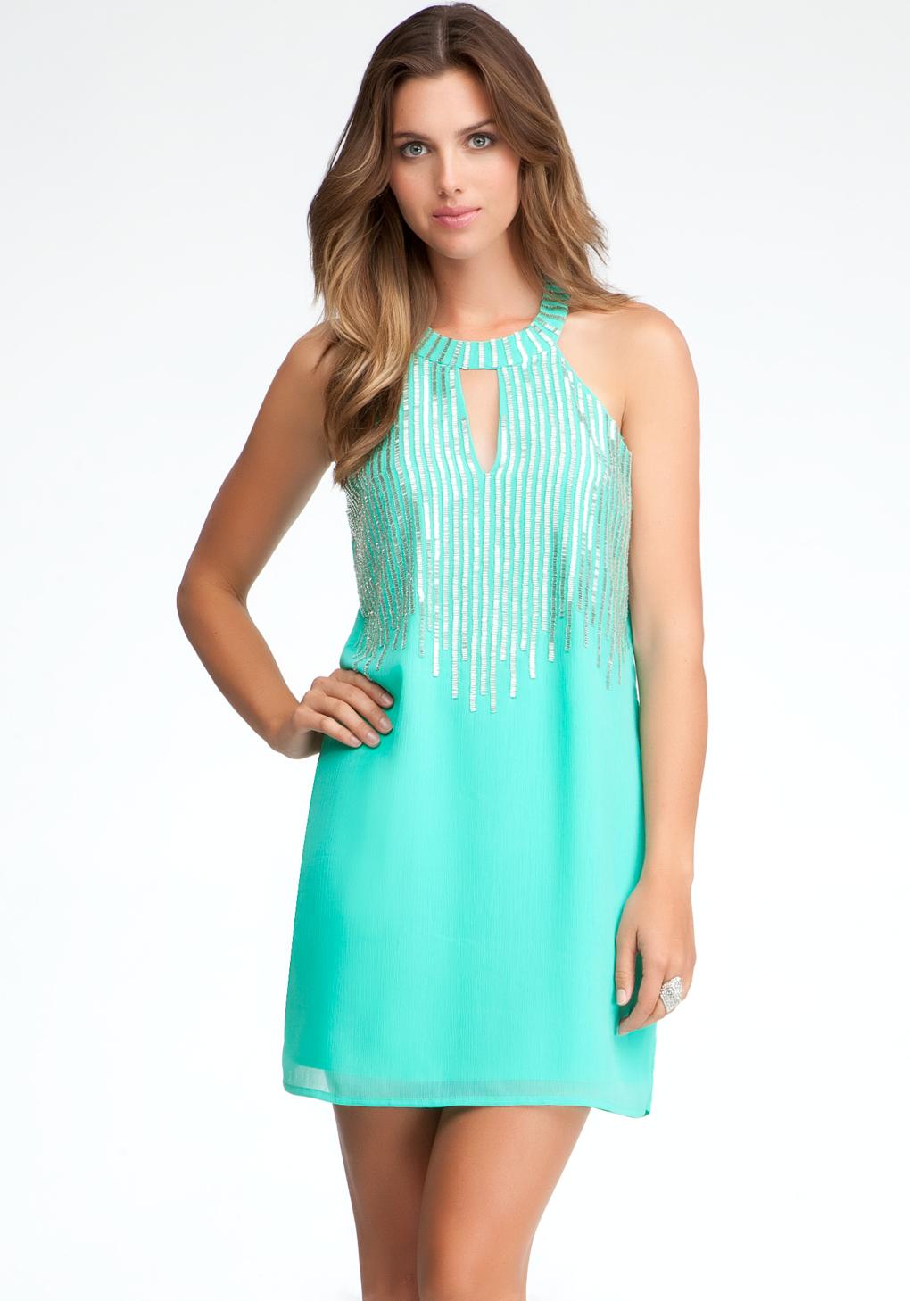 bebe beaded halter dress exclusive in blue green