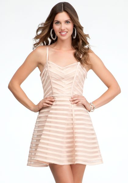 Bebe Striped Binded Fit Flare Dress In Pink Rose Lyst