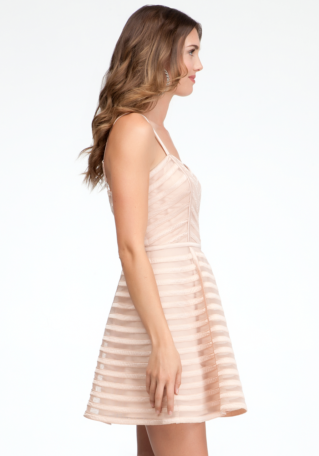 Bebe Striped Binded Fit Flare Dress In Rose Pink Lyst