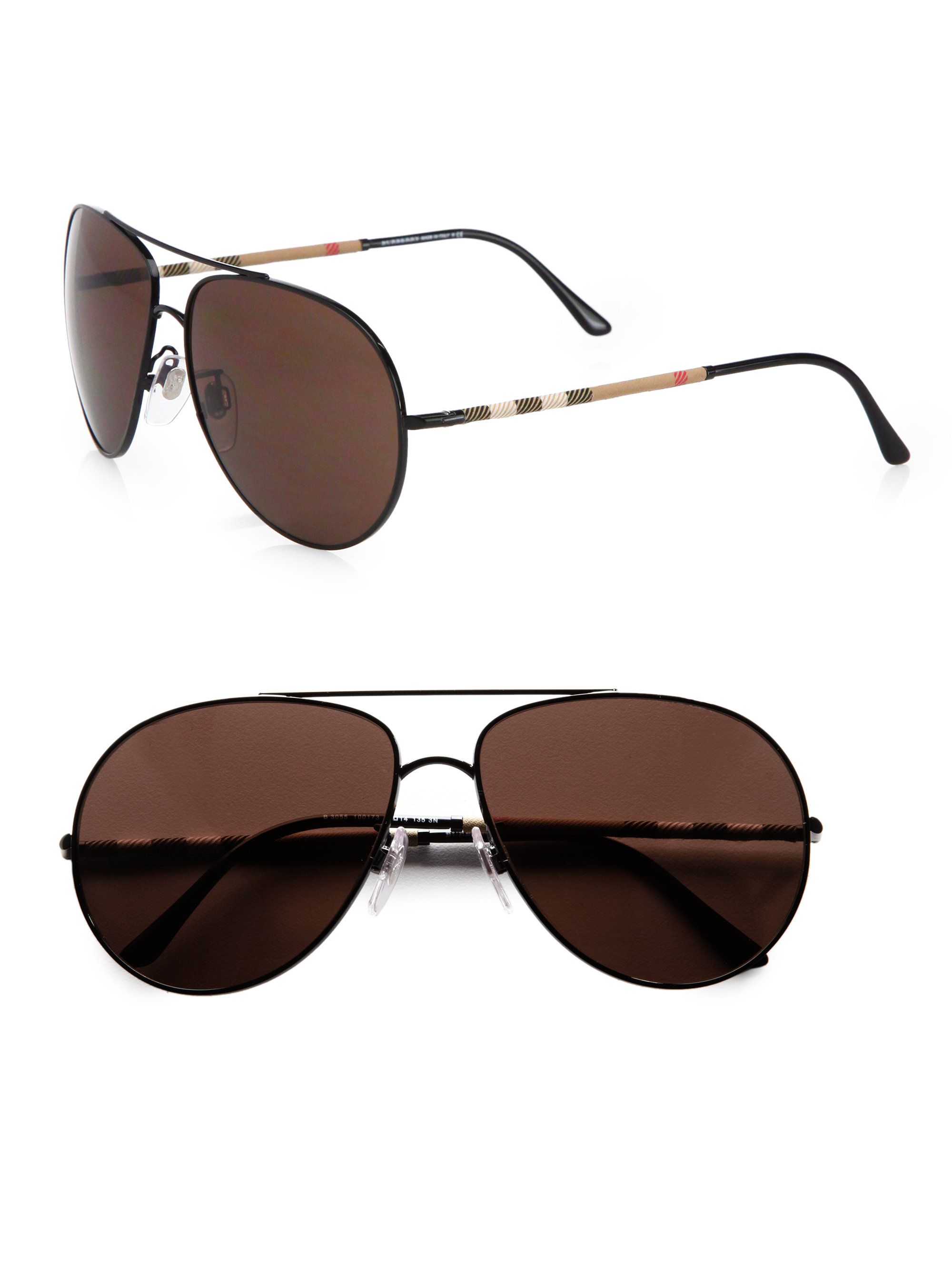 dbb3cb1a4de20 Lyst - Burberry Metal Aviator Sunglasses in Black for Men