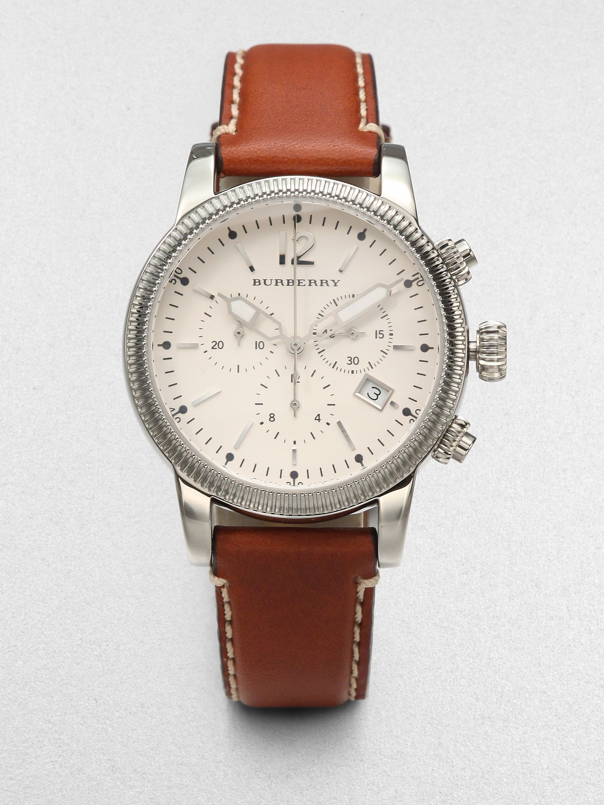Lyst burberry stainless steel leather chronograph watch tan in brown for men for Burberry watches