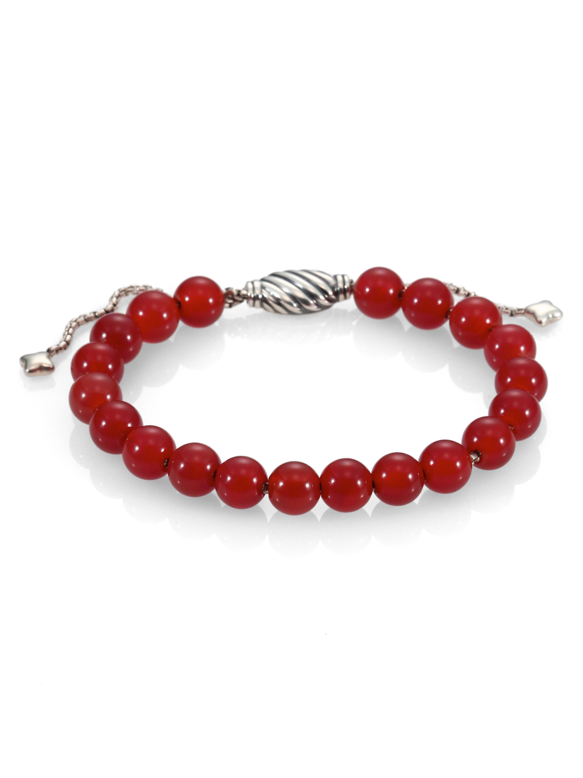david yurman carnelian sterling silver beaded bracelet in