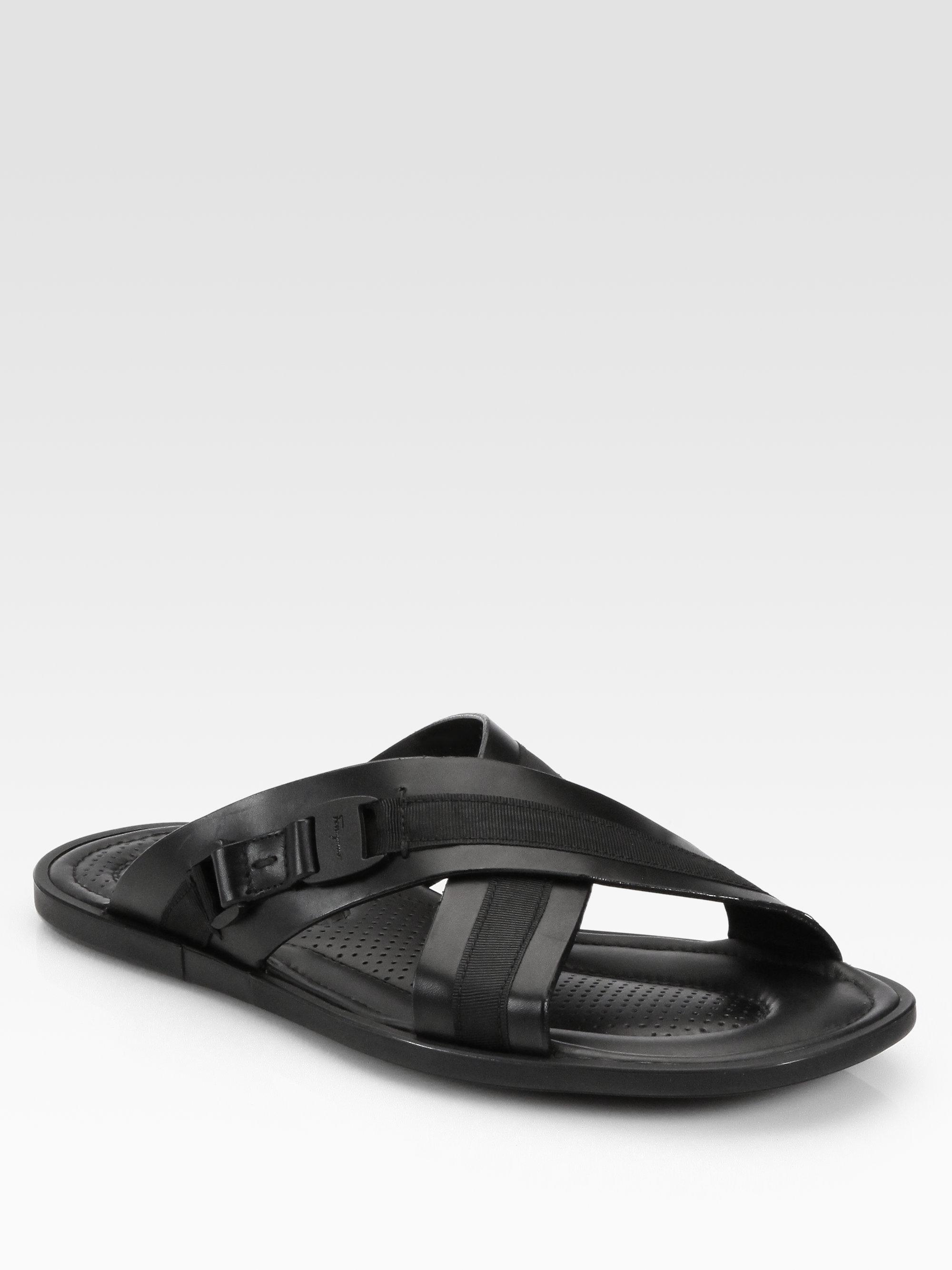 Ferragamo Tolis Slide Sandals In Black For Men Lyst