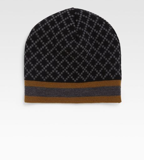 Gucci Hats For Men: Gucci Knit Hat In Brown For Men (black)