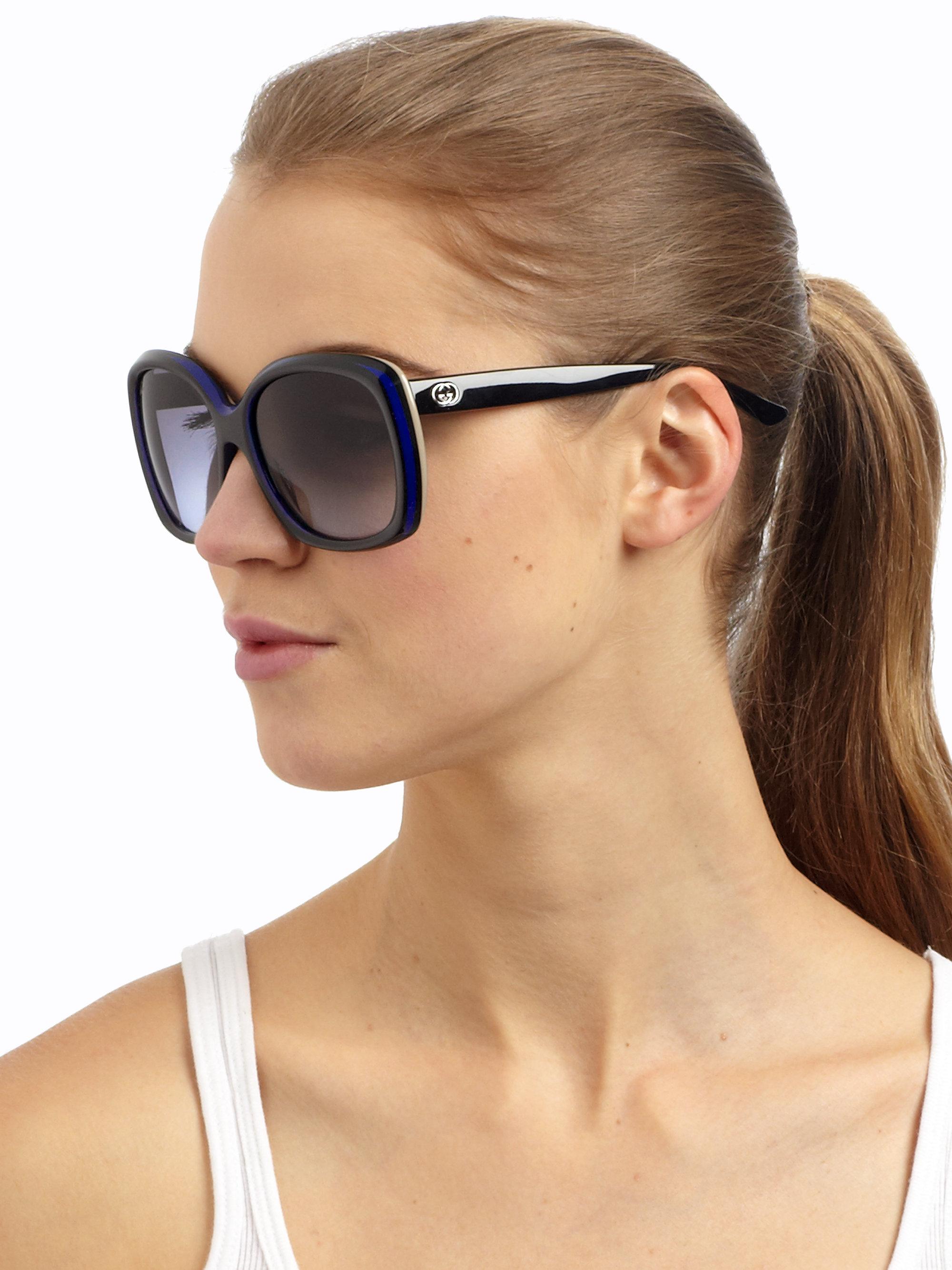 c7b4419c14f Lyst - Gucci Retro Multi-Layer Square Acetate Sunglasses in Black