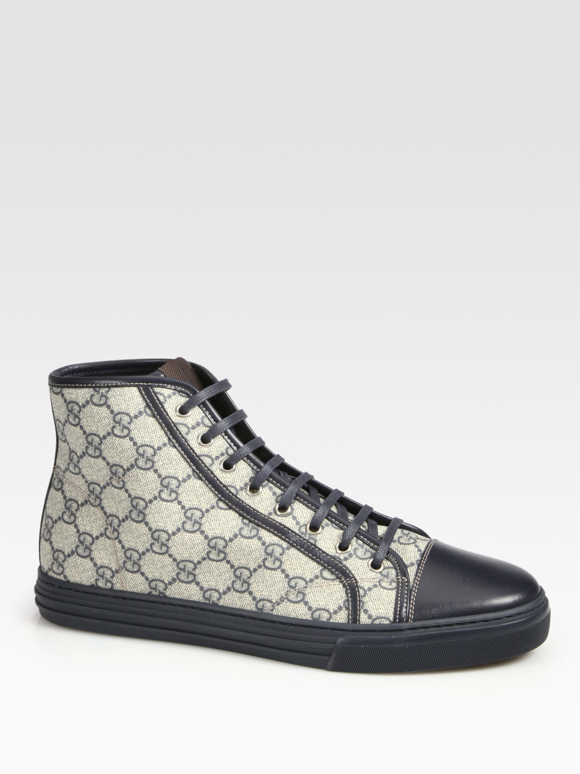 lyst gucci california high top lace up sneakers in blue. Black Bedroom Furniture Sets. Home Design Ideas