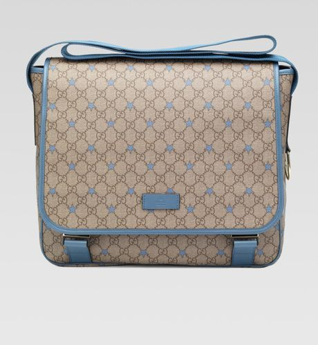 gucci micro gg supreme canvas stars diaper bag in beige blue lyst. Black Bedroom Furniture Sets. Home Design Ideas