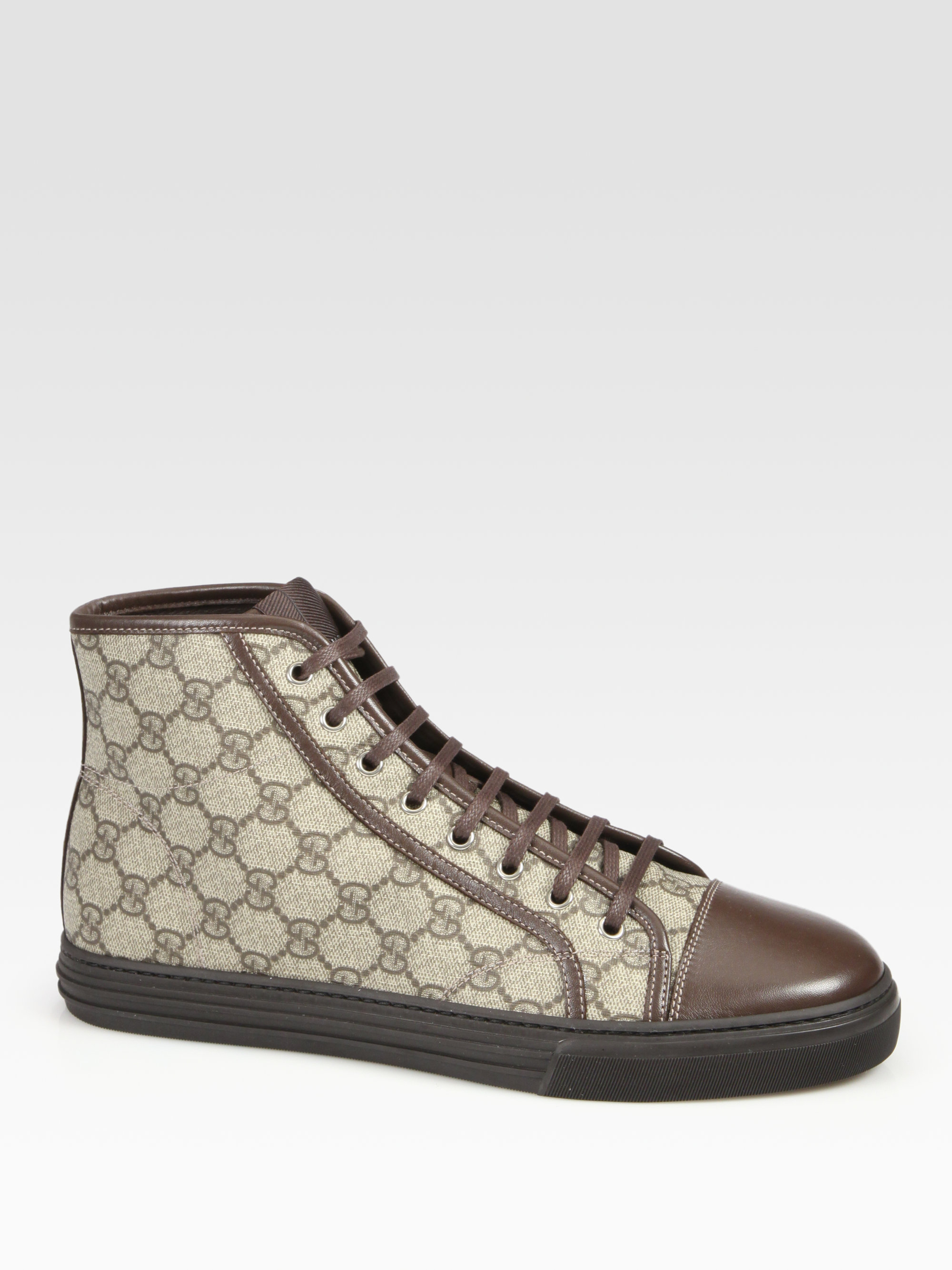 91ee2b609ca Gucci Brown California High-Top Lace-Up Sneakers for men