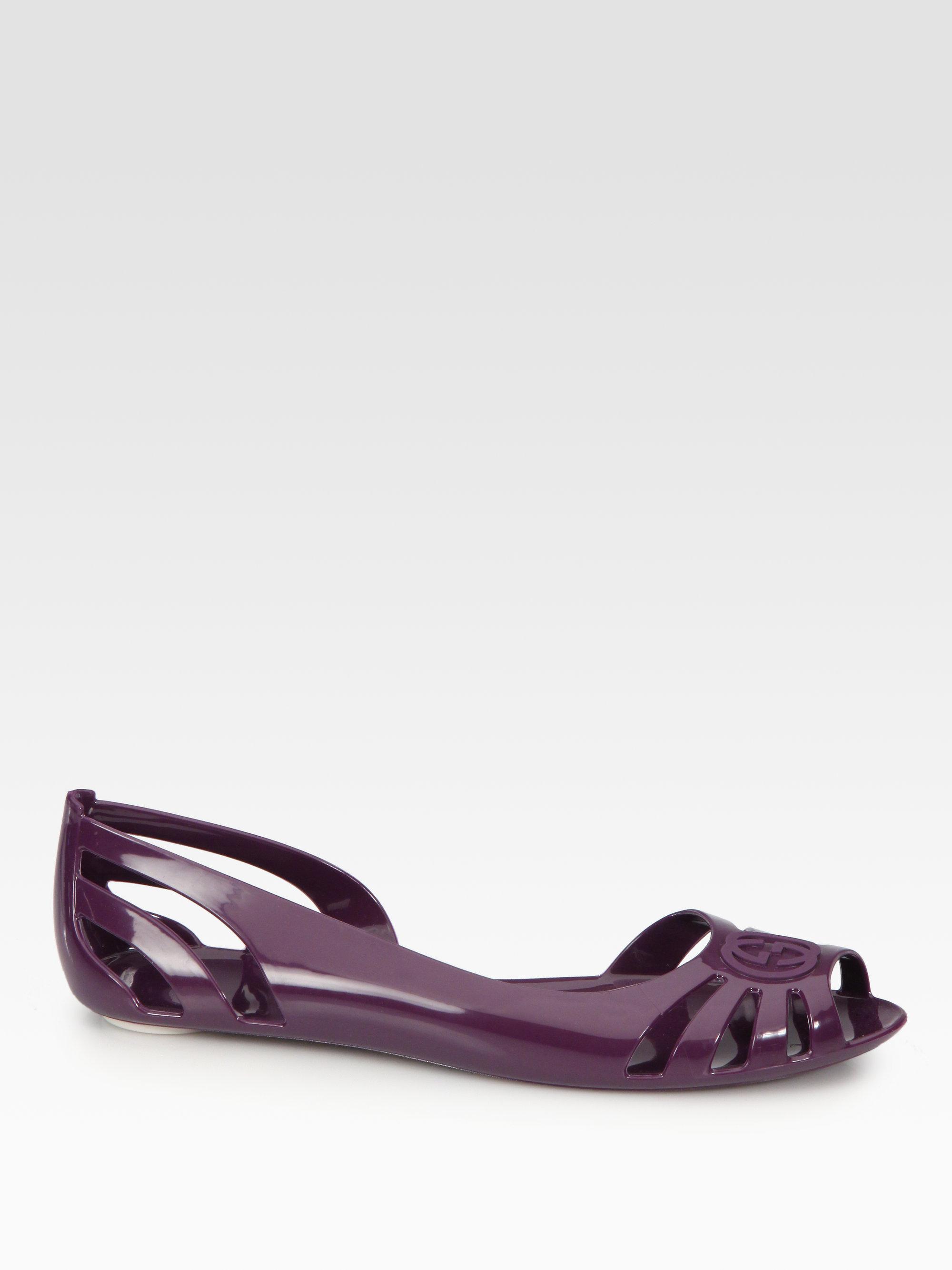 07cbe88ce937 Lyst - Gucci Marola Jelly Logo Sandals in Purple