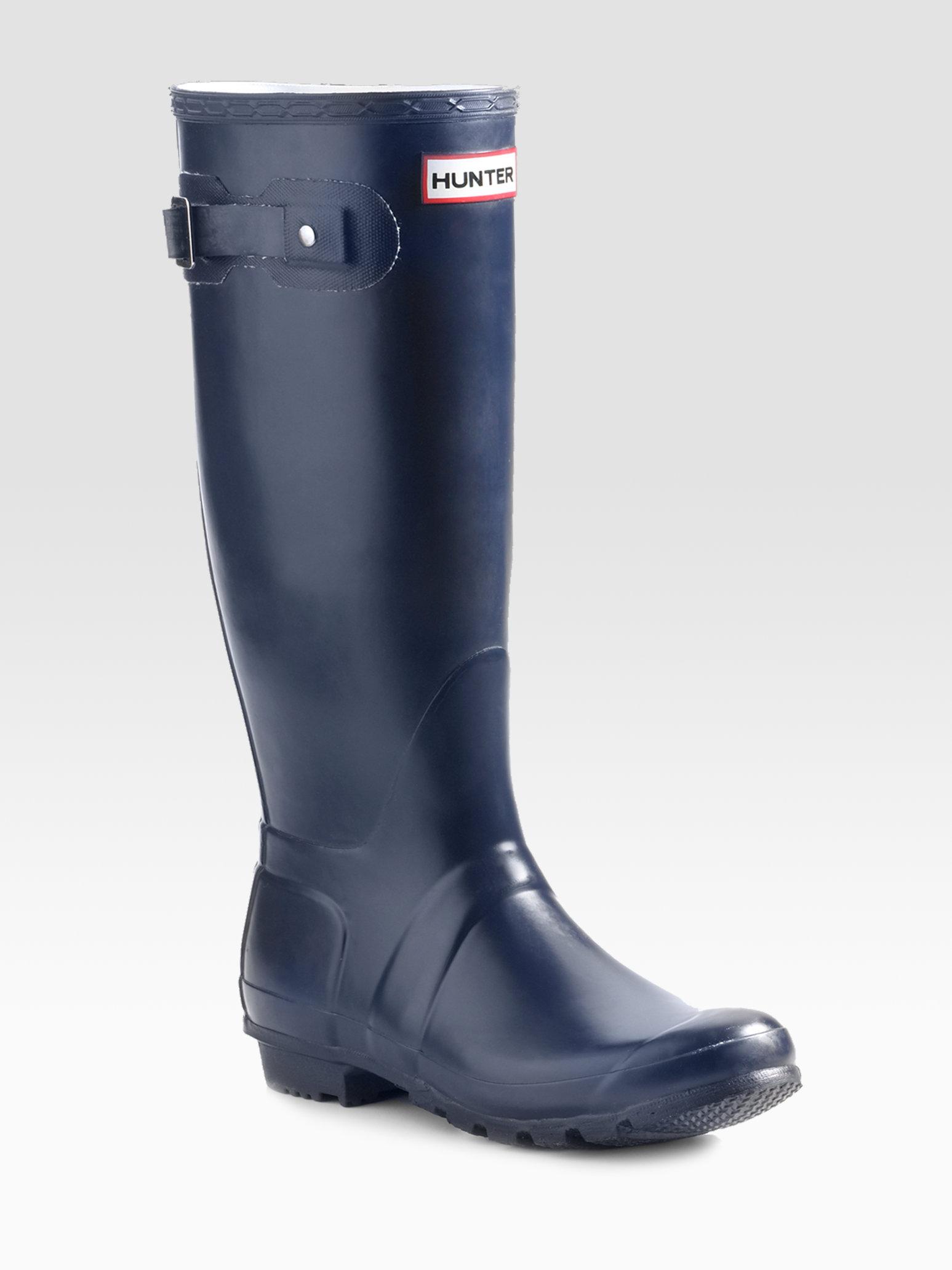 Hunter Original Tall Matte Rain Boots In Blue Lyst