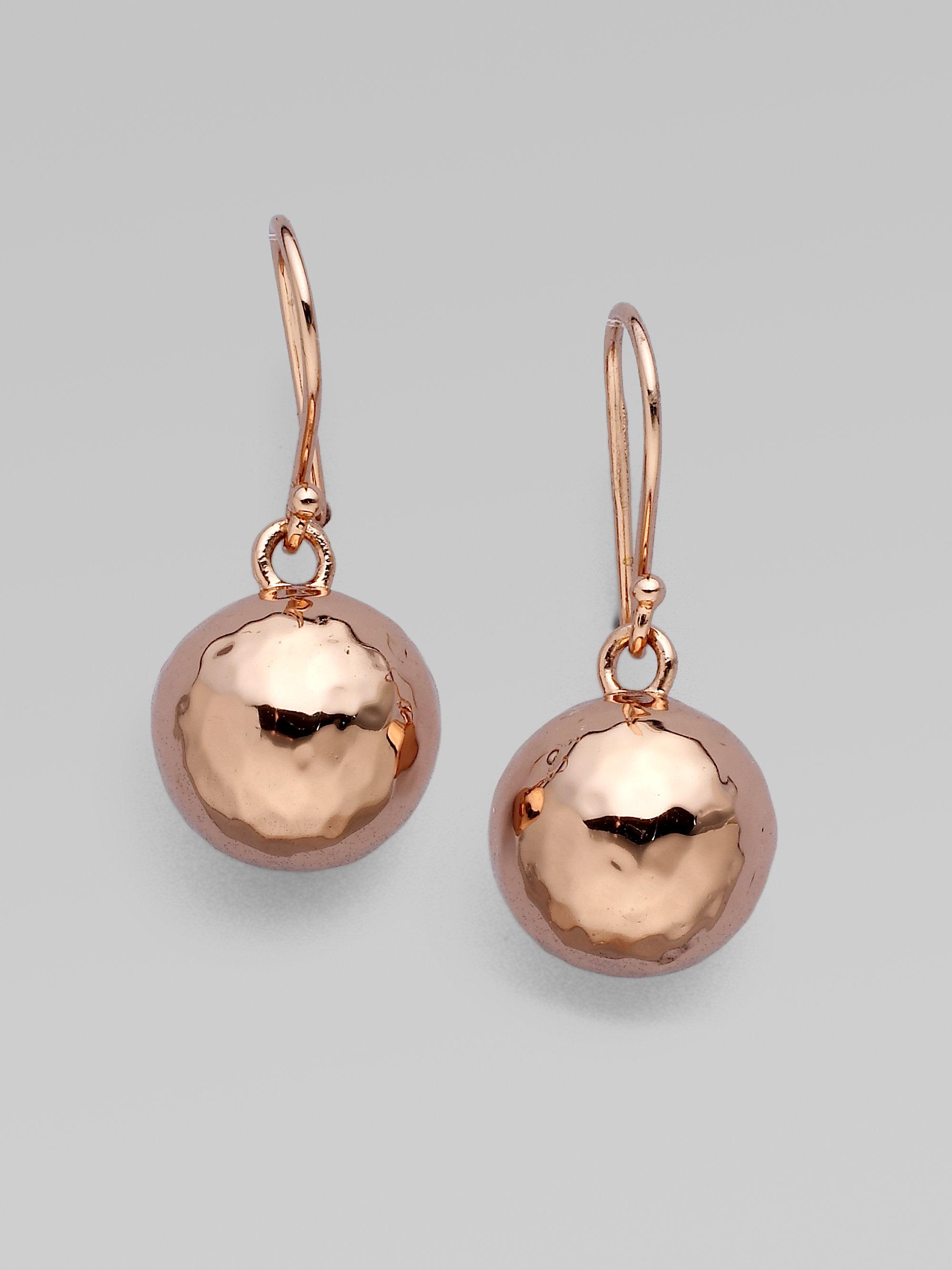 Lyst Ippolita Rose Mini Hammered Ball Earrings In Metallic