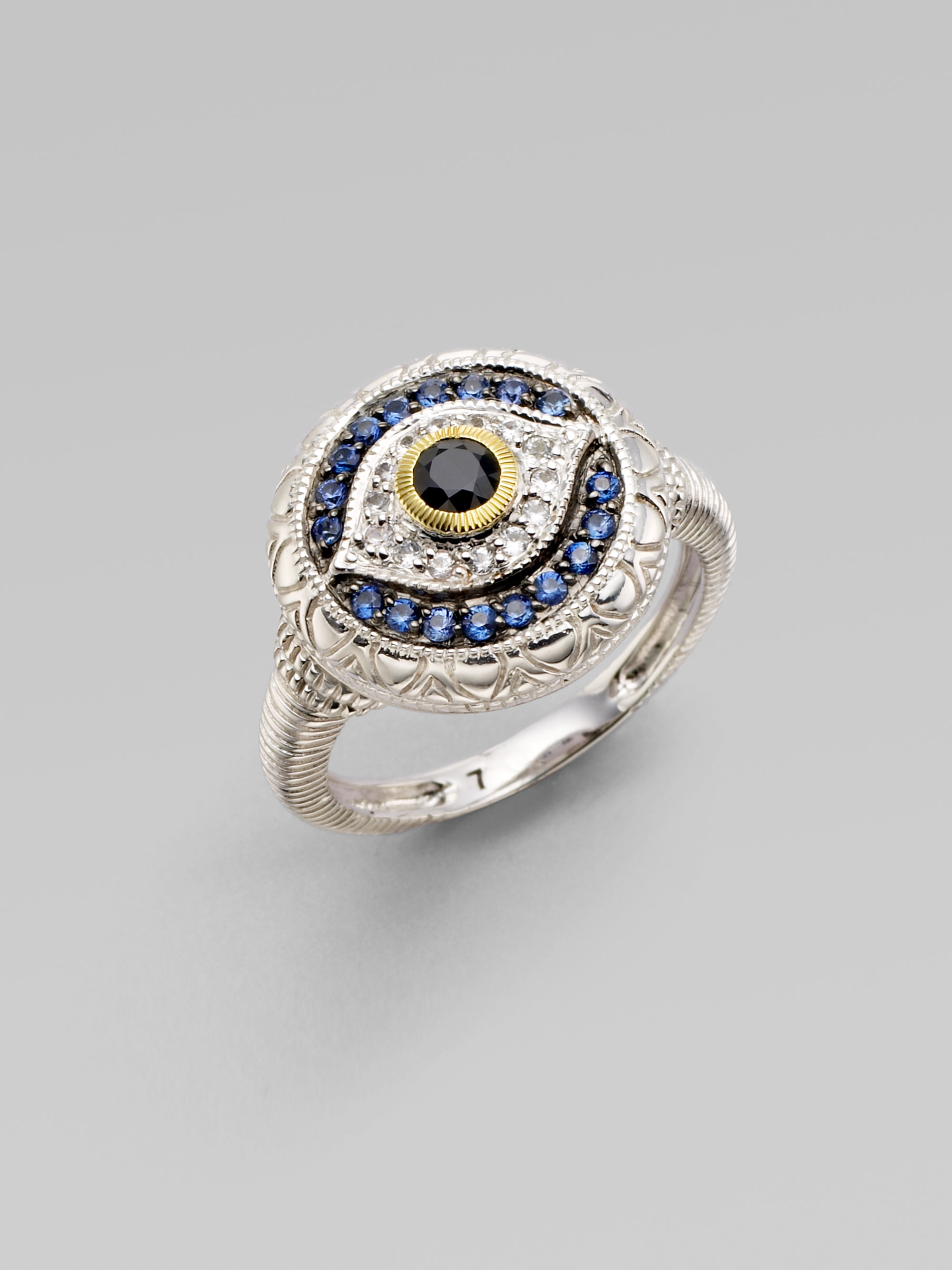 judith ripka black white and blue sapphire sterling