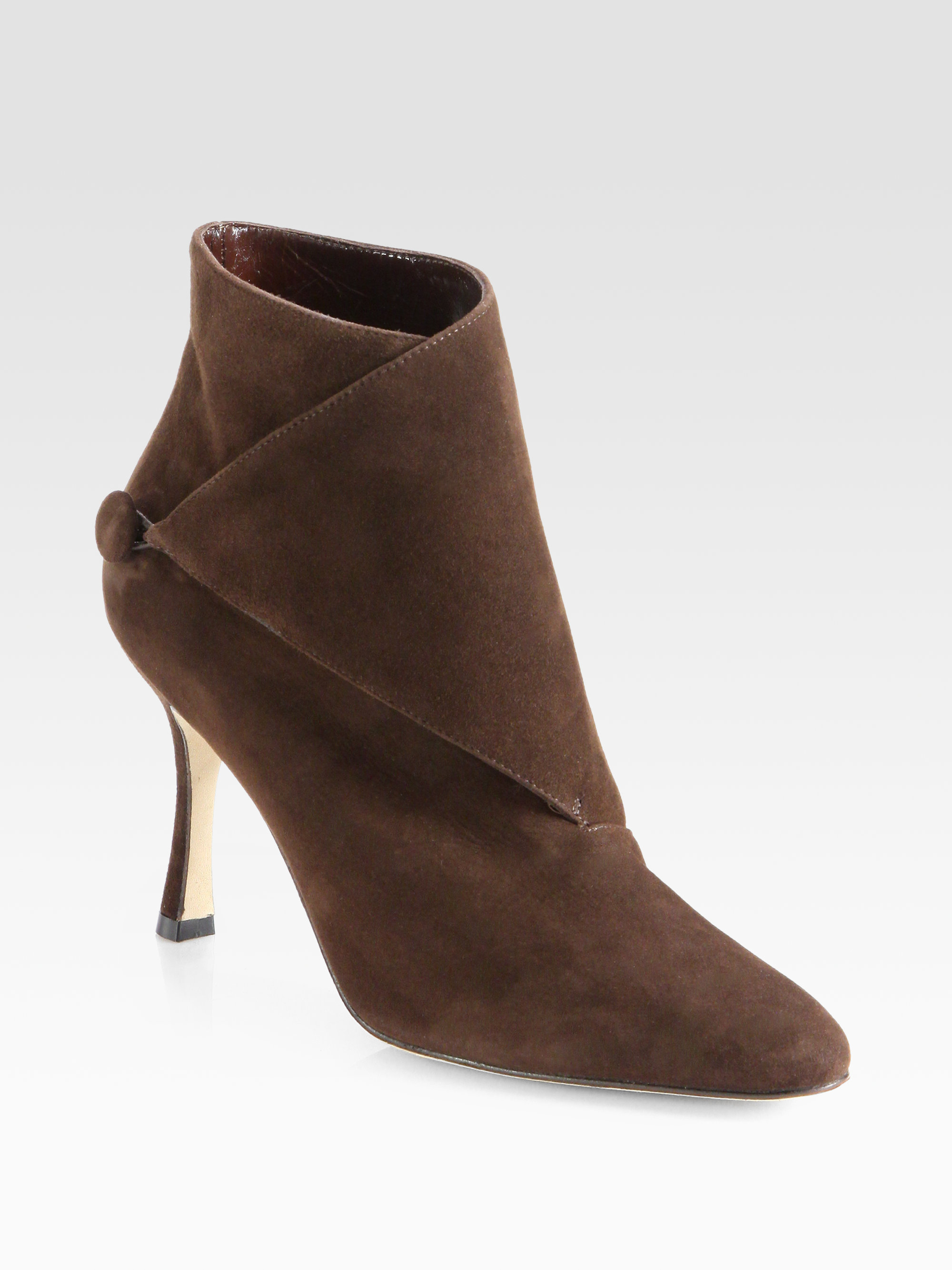 Lyst manolo blahnik diaz suede ankle boots in brown for Shoes by manolo blahnik