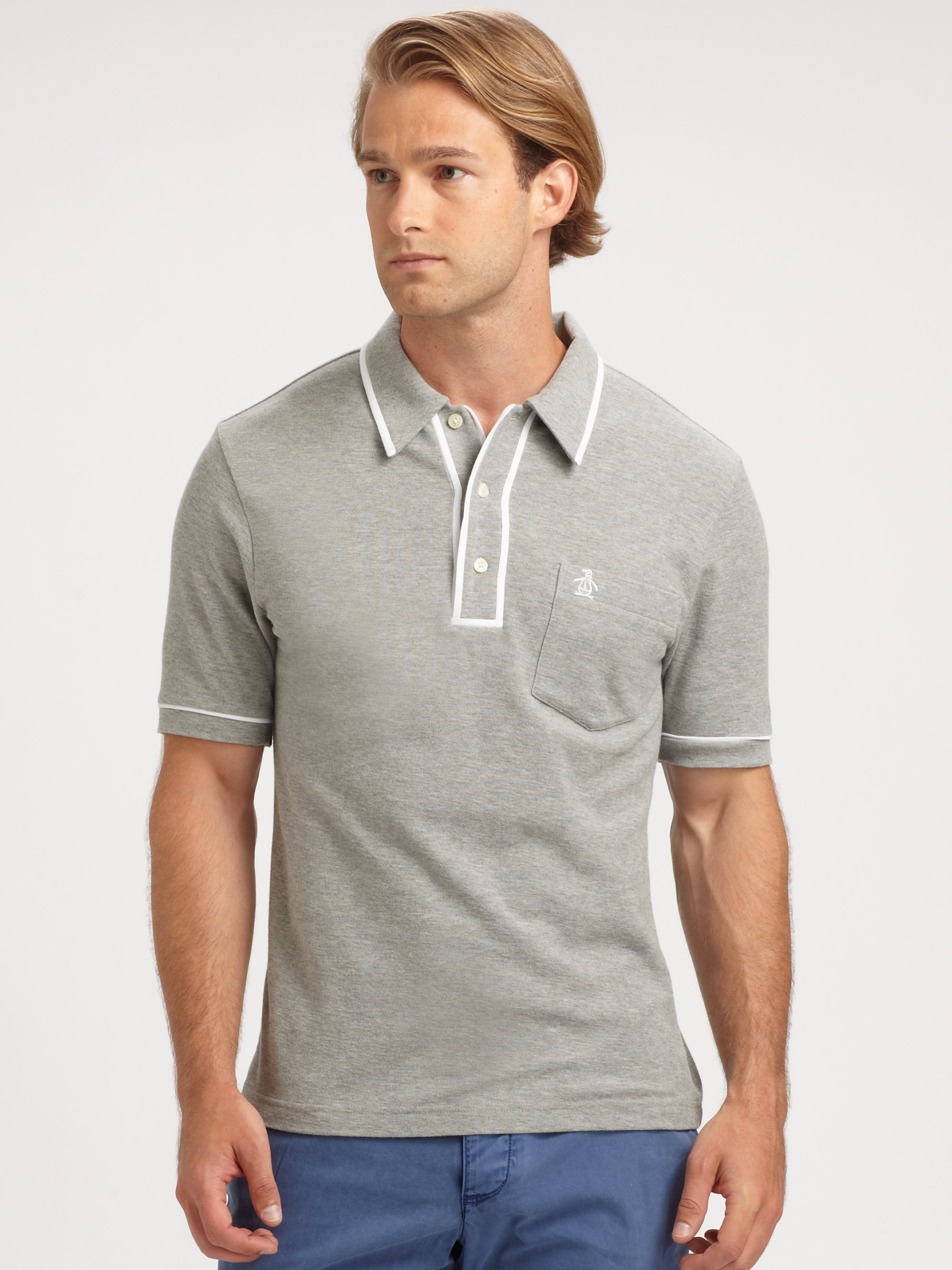 Lyst Original Penguin The Earl Cotton Polo Tee In Gray For Men
