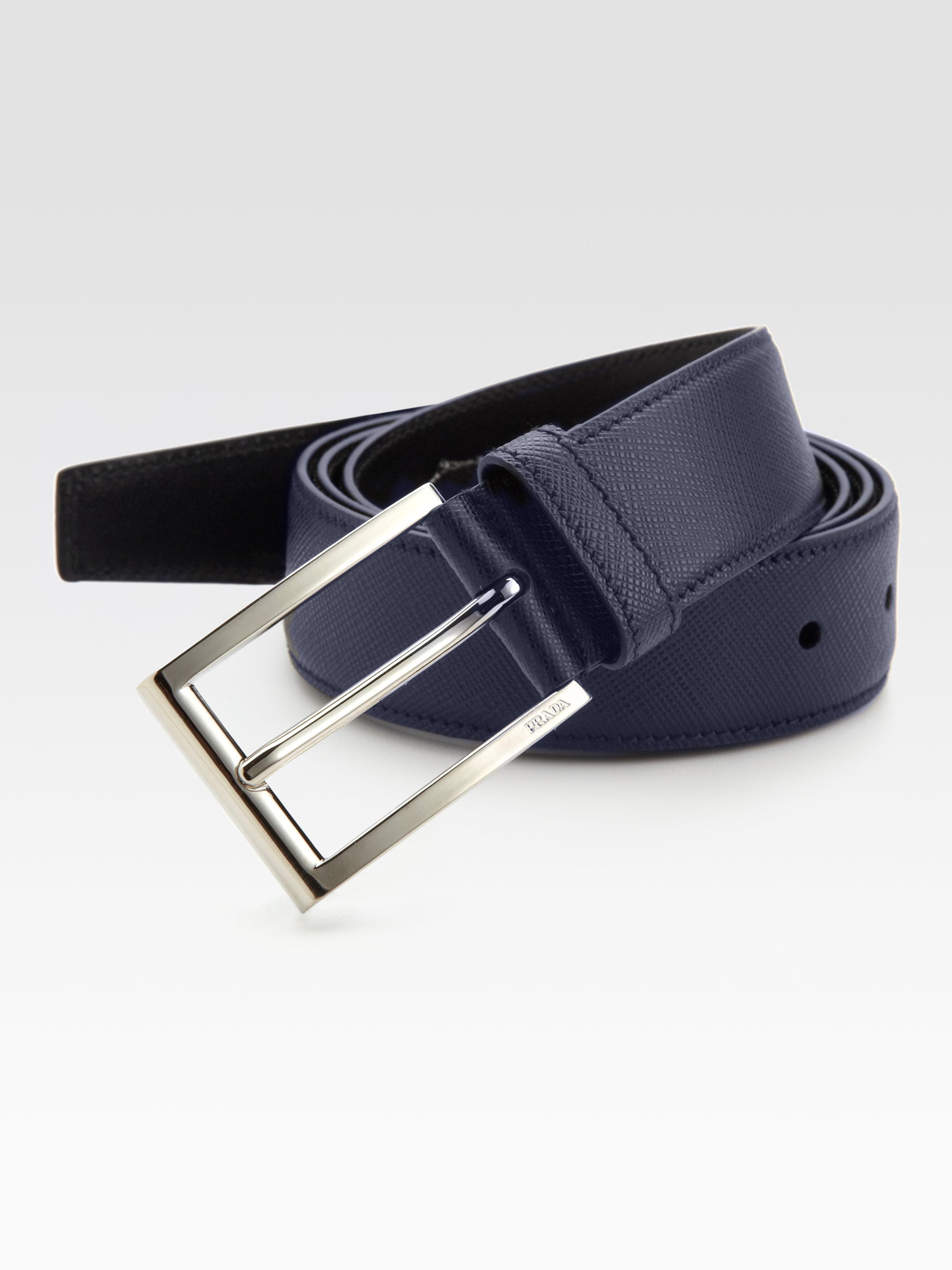 Prada Saffiano Dress Belt In Blue For Men