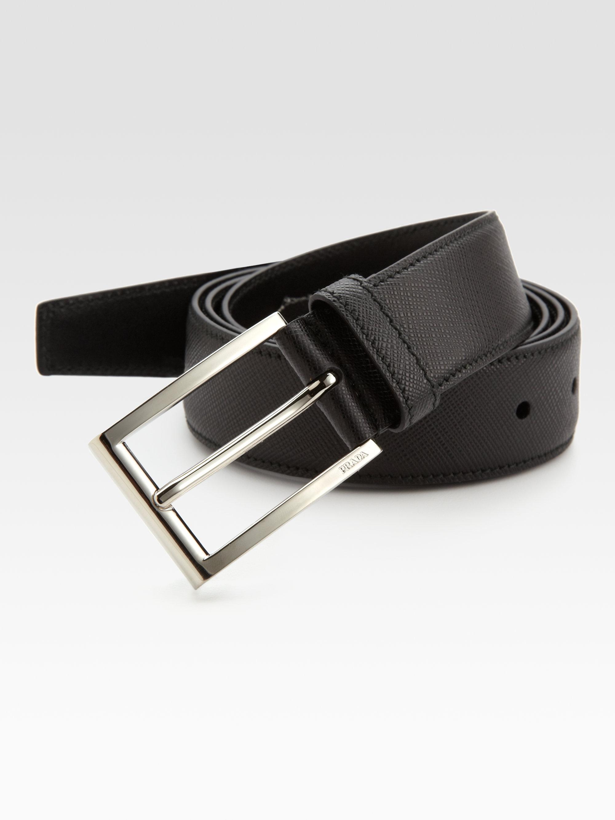 Prada Saffiano Dress Belt in Black for Men | Lyst