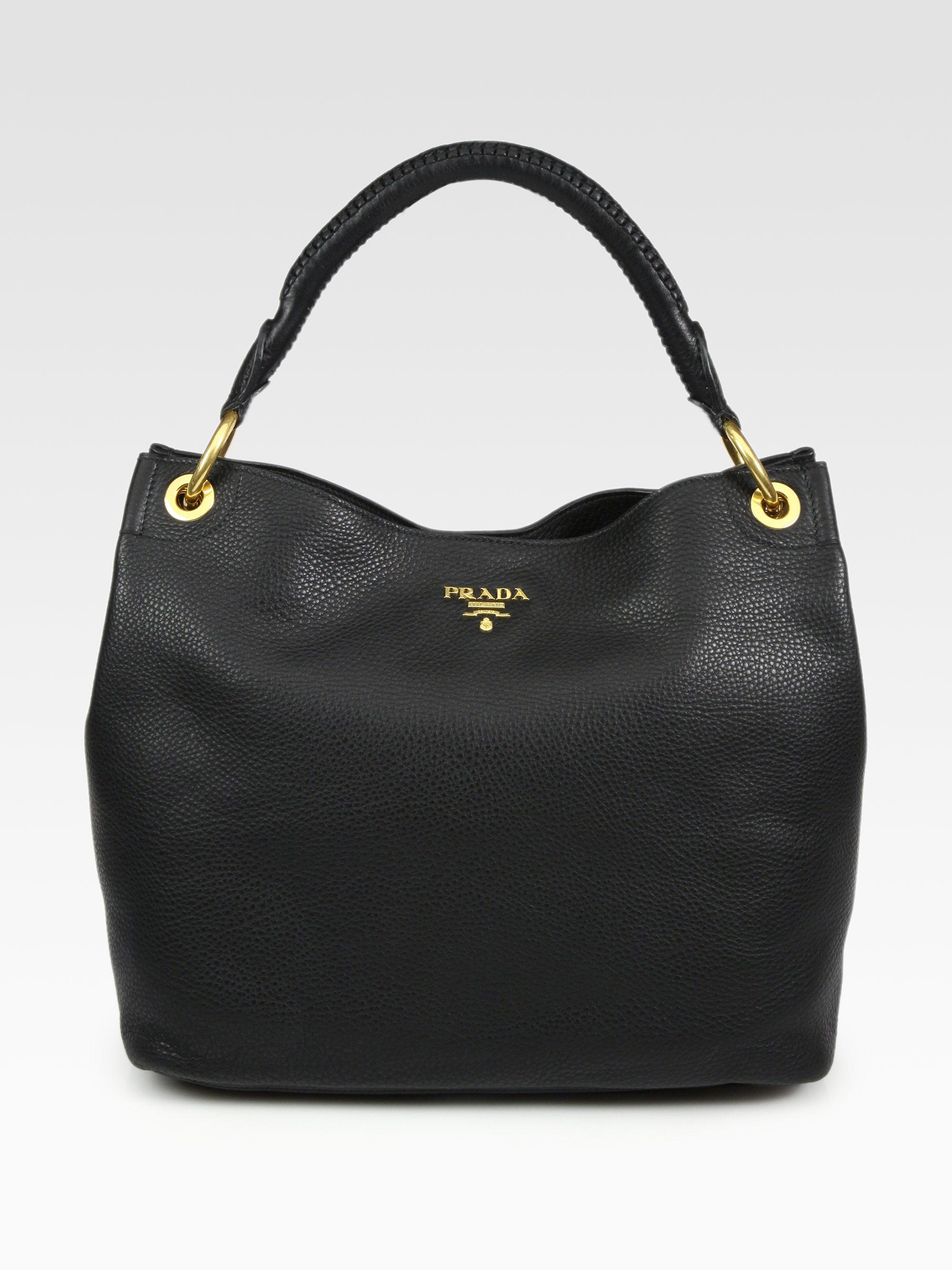 free shipping lyst prada vitello daino hobo bag in black baf7d d3724 652acf3743