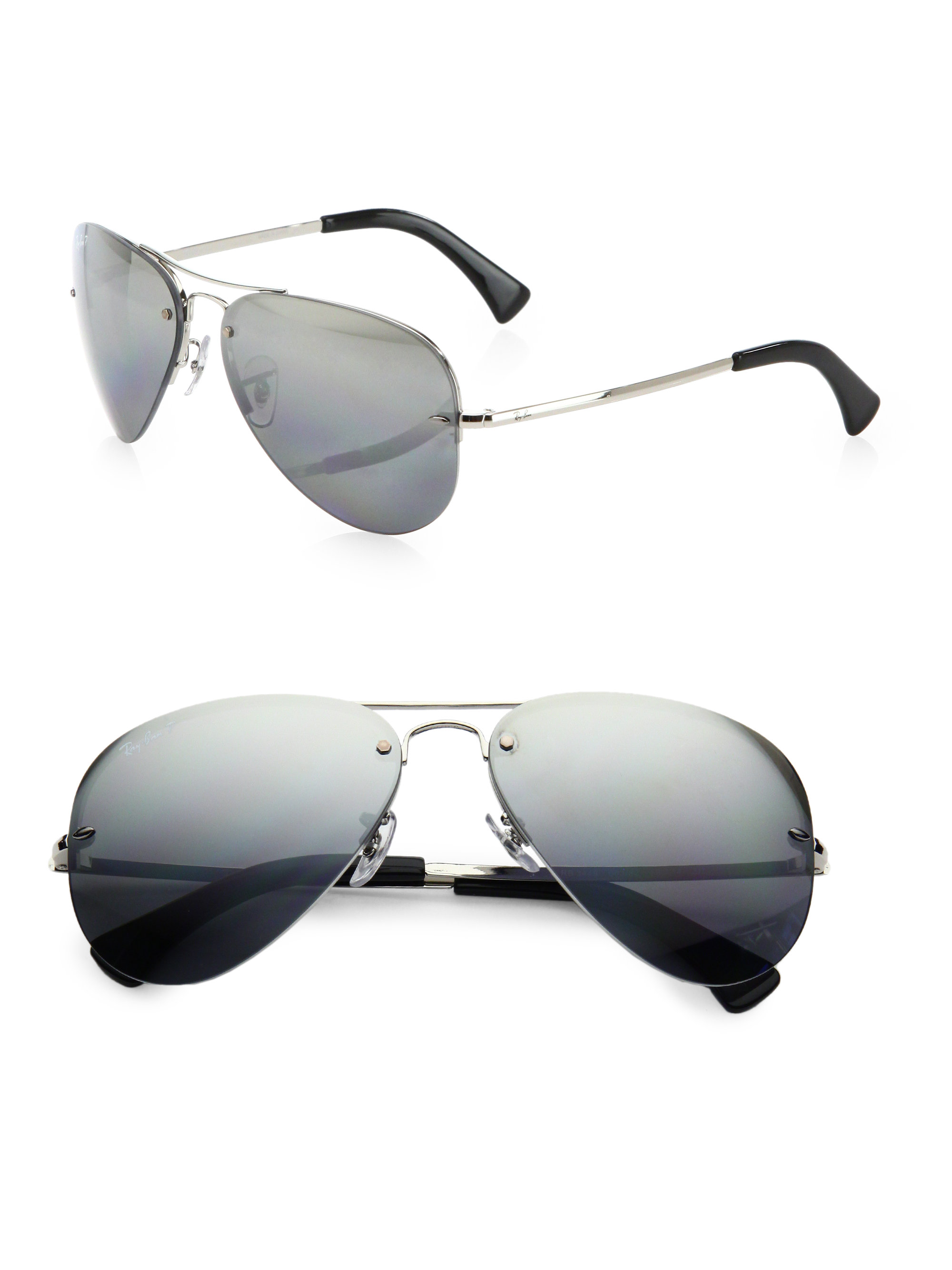 30a81804cee Ray-Ban Semi-rimless Aviators in Gray for Men - Lyst